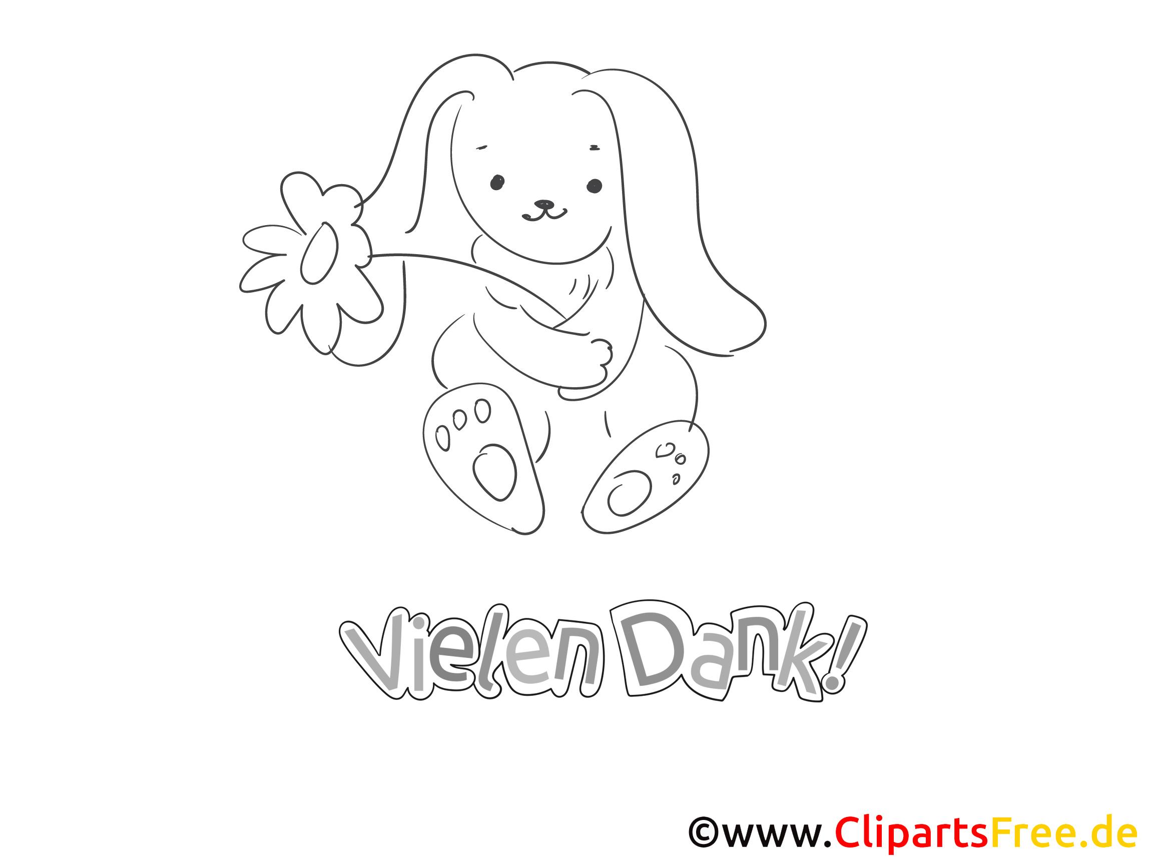 Kaninchen kostenlose Dankeskarte zum Ausdrucken