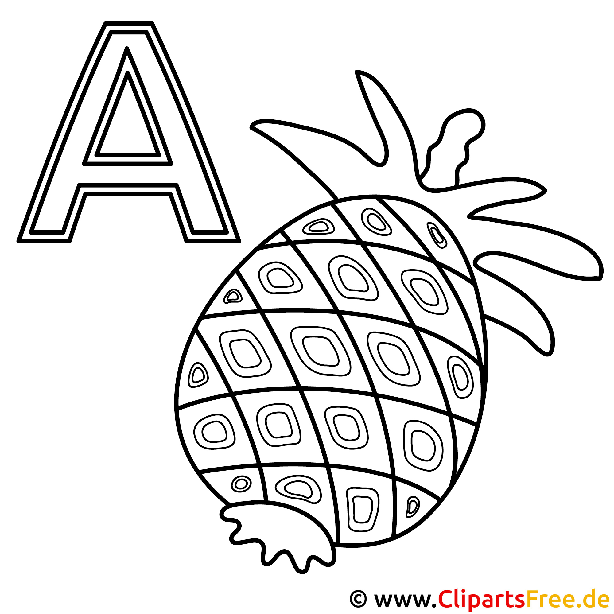 Ananas Buchstaben Zum Ausmalen