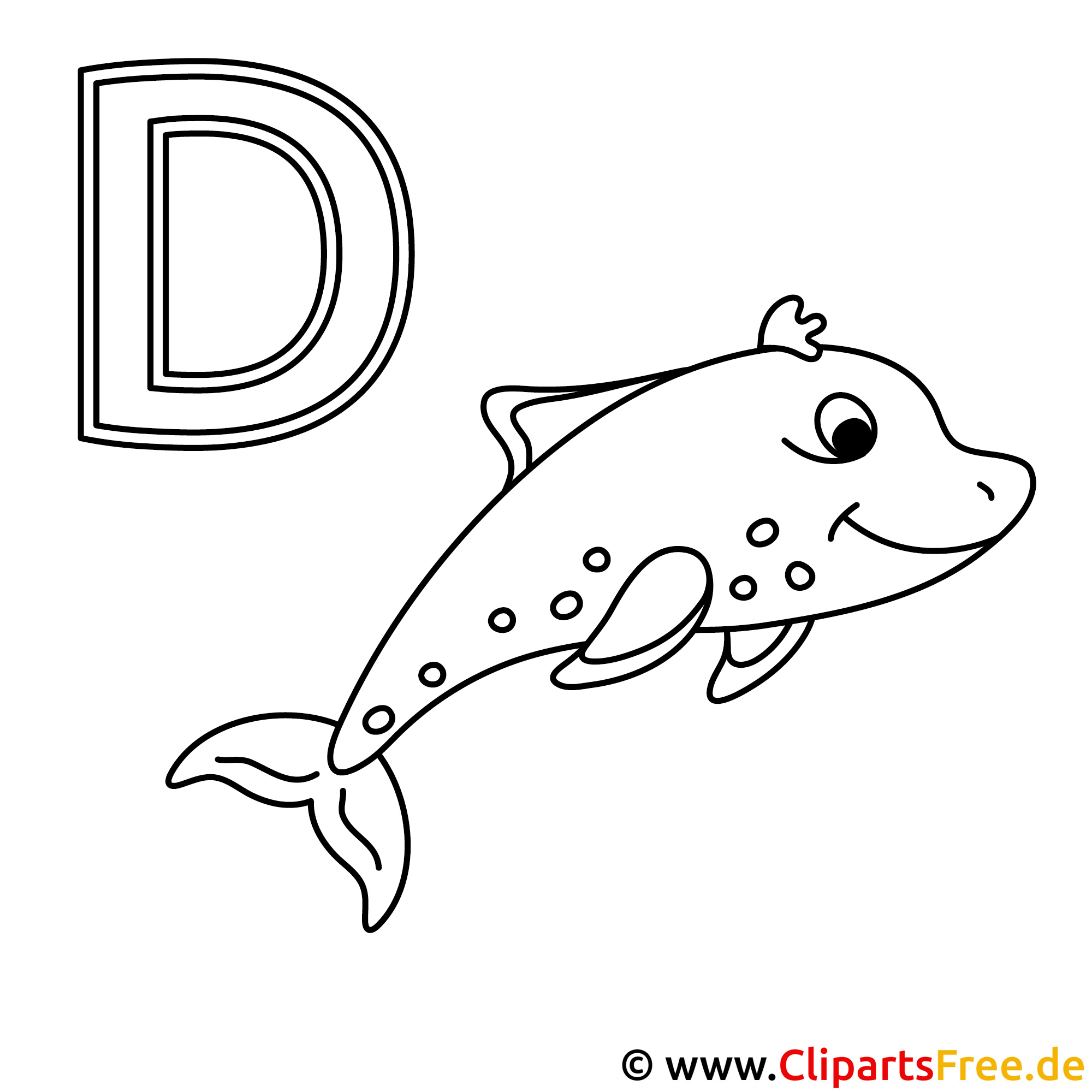 Delfin Ausmalbild - Buchstaben zum Ausdrucken