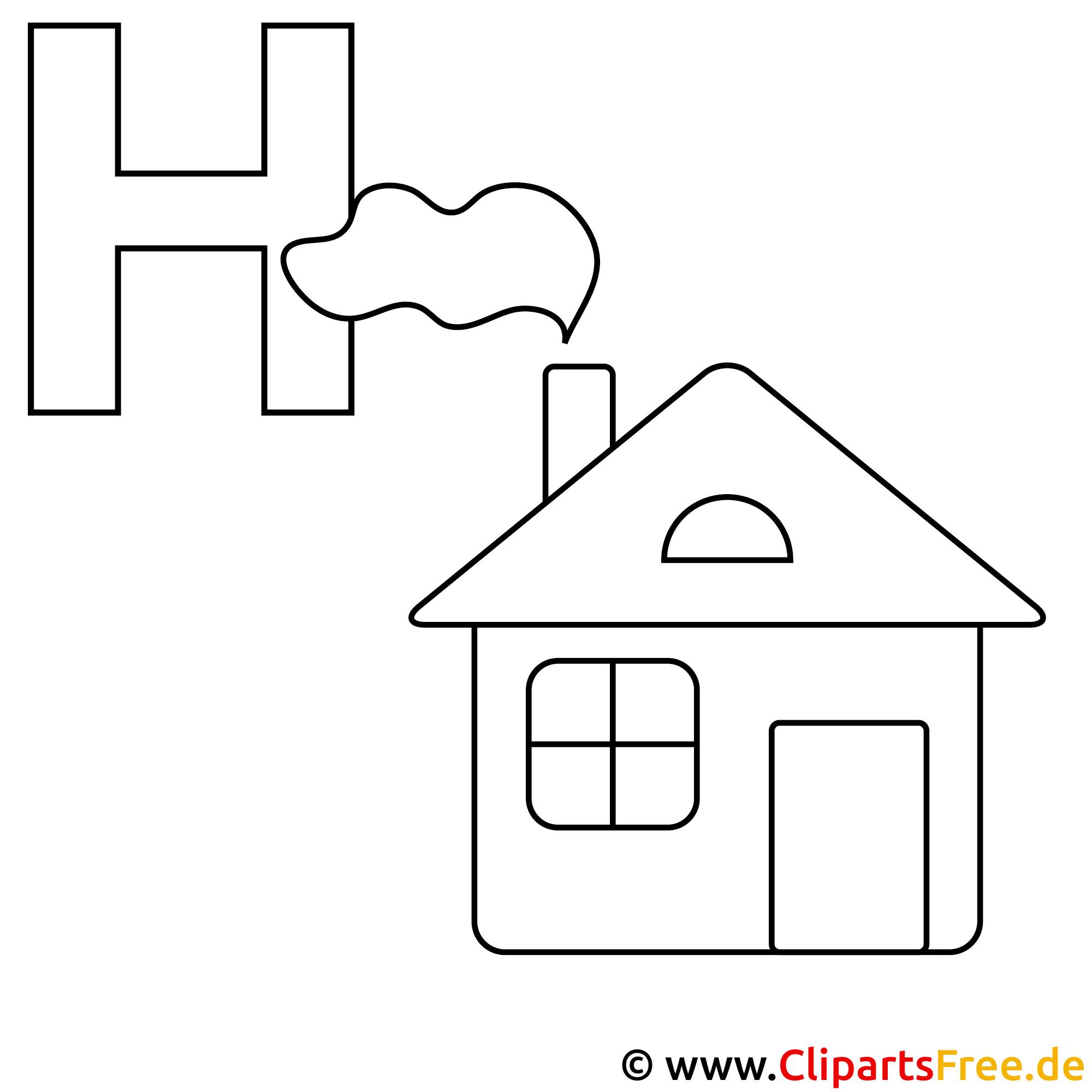 Haus Ausmalbild - Buchstaben Vorlagen kostenlos