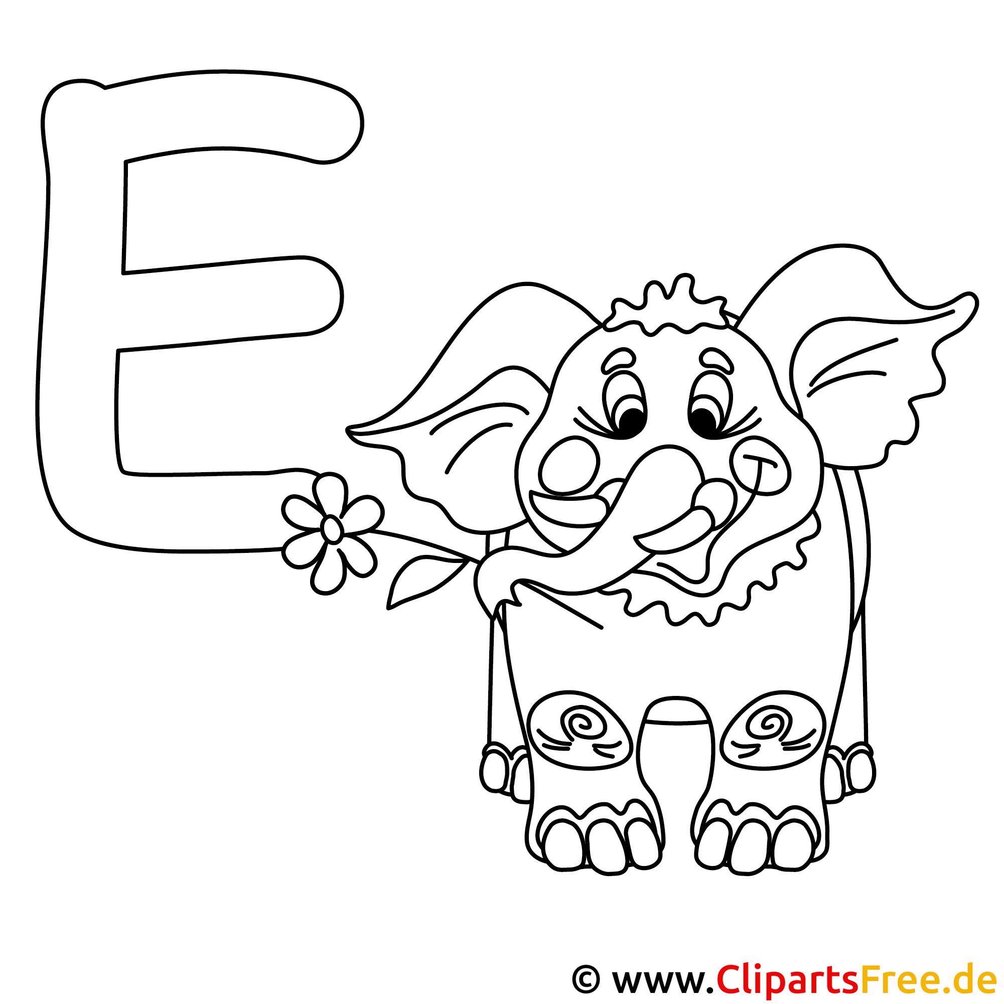 Elephant - Abc Buchstaben zum Ausmalen