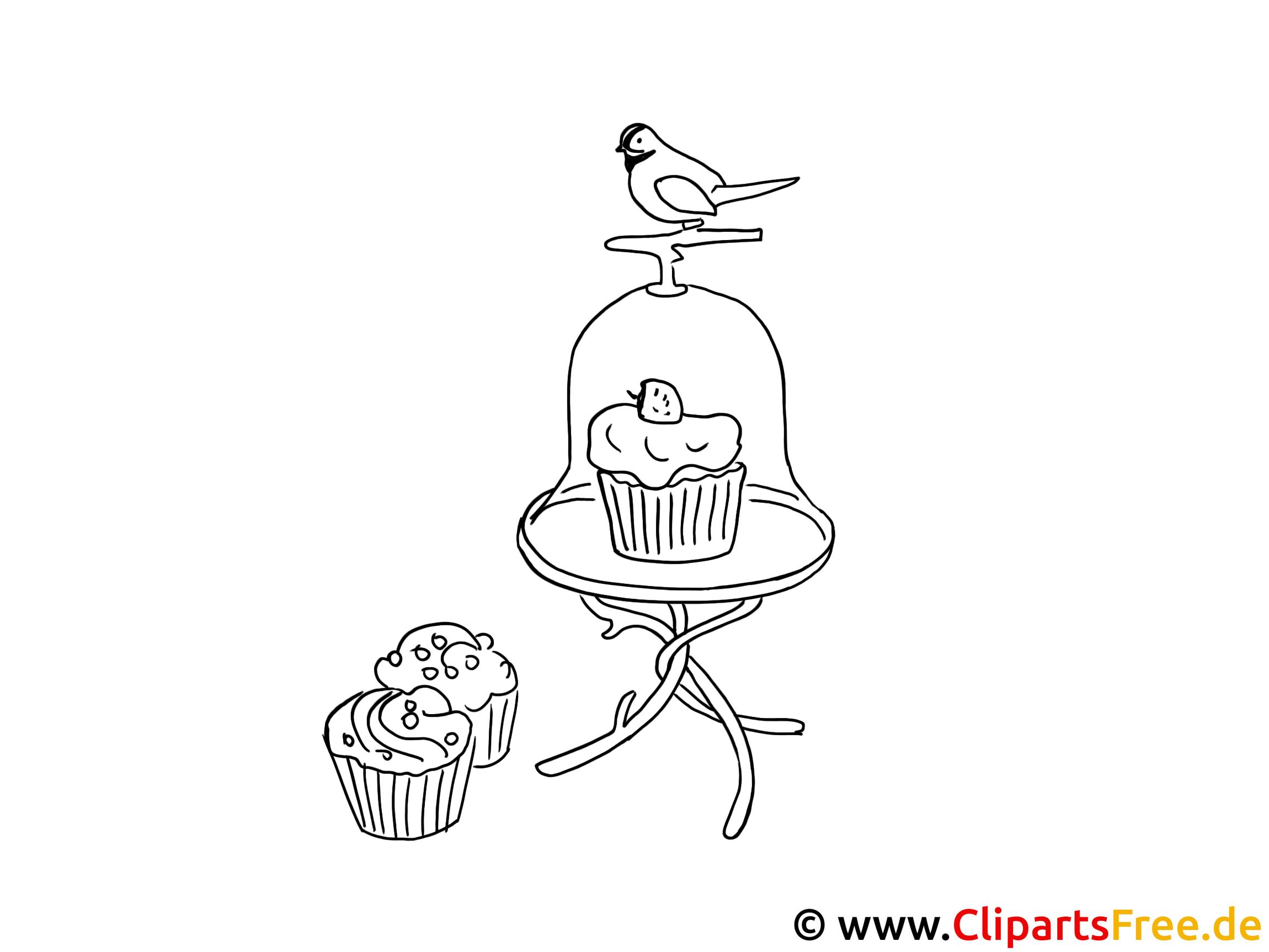 vogel und kuchen bild  bilder zum ausmalen und drucken