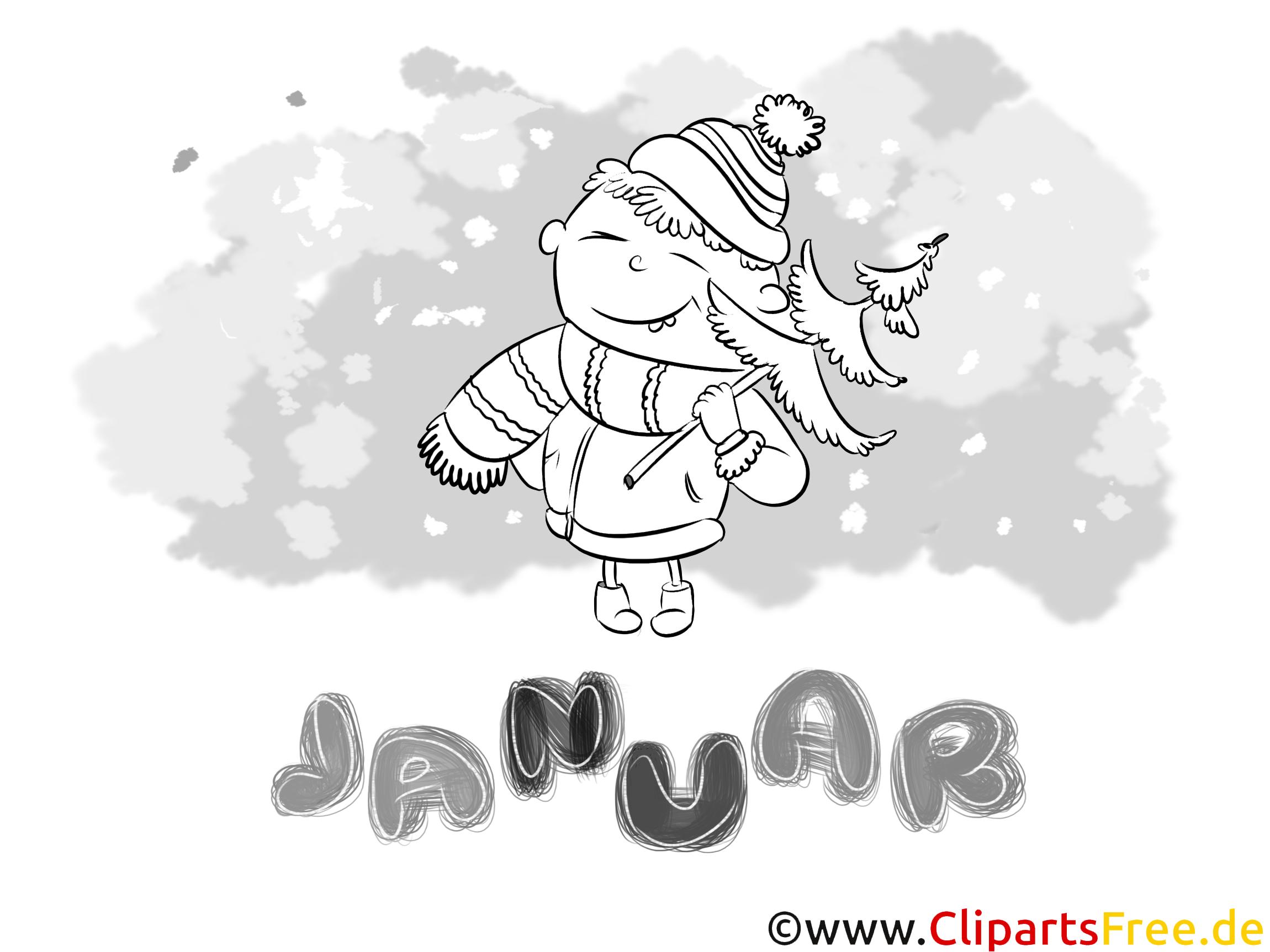 Januar Bild Schwarz Weiß Ausmalbilder Monate Jahreszeiten