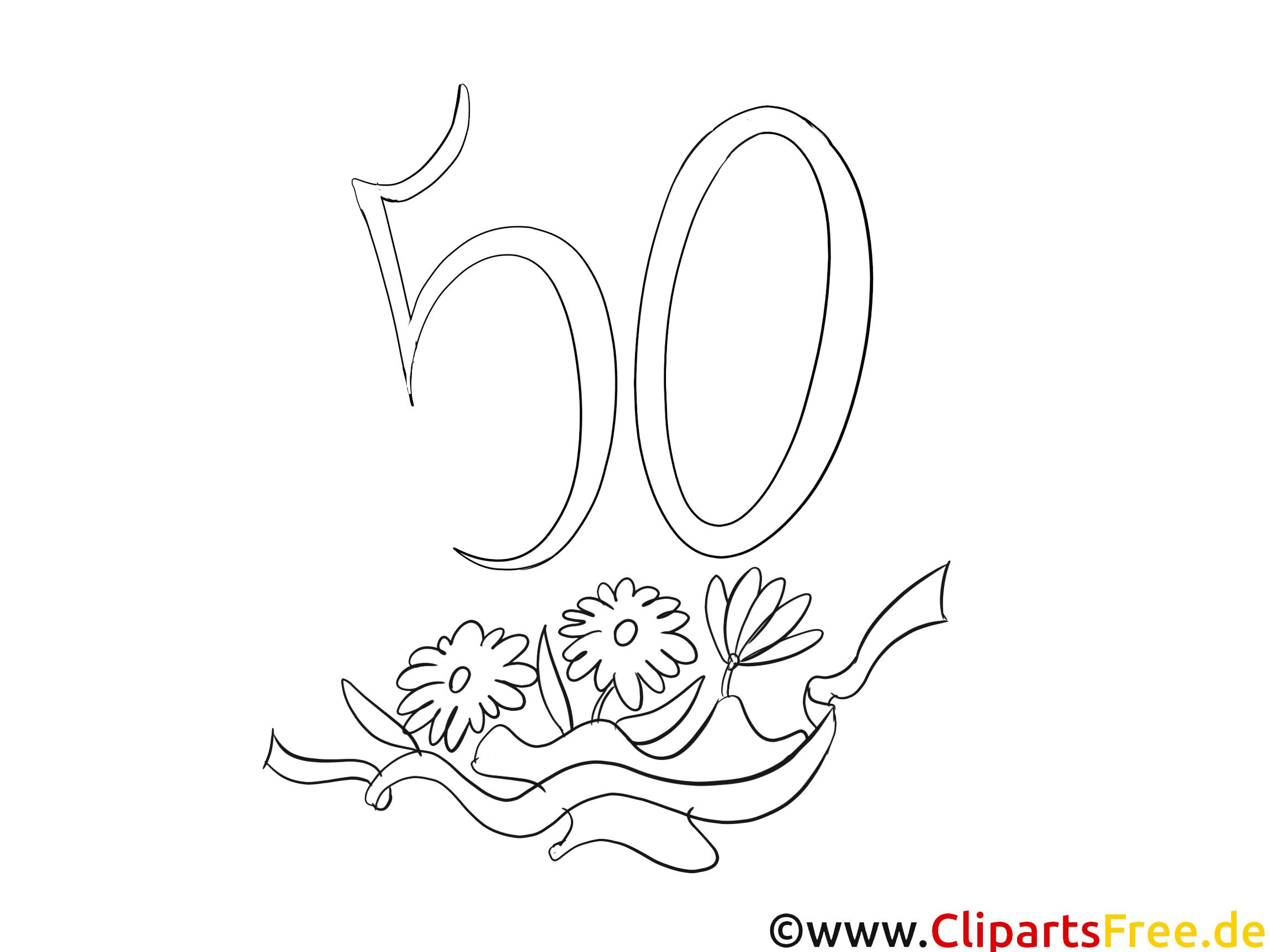 Einfache Malvorlage 50 Geburtstag