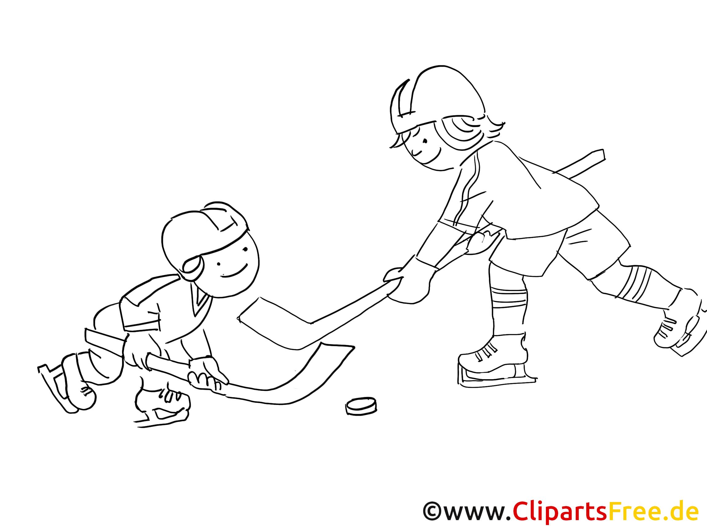 Kinder Spielen Eishockey Malvorlage Winter Sport