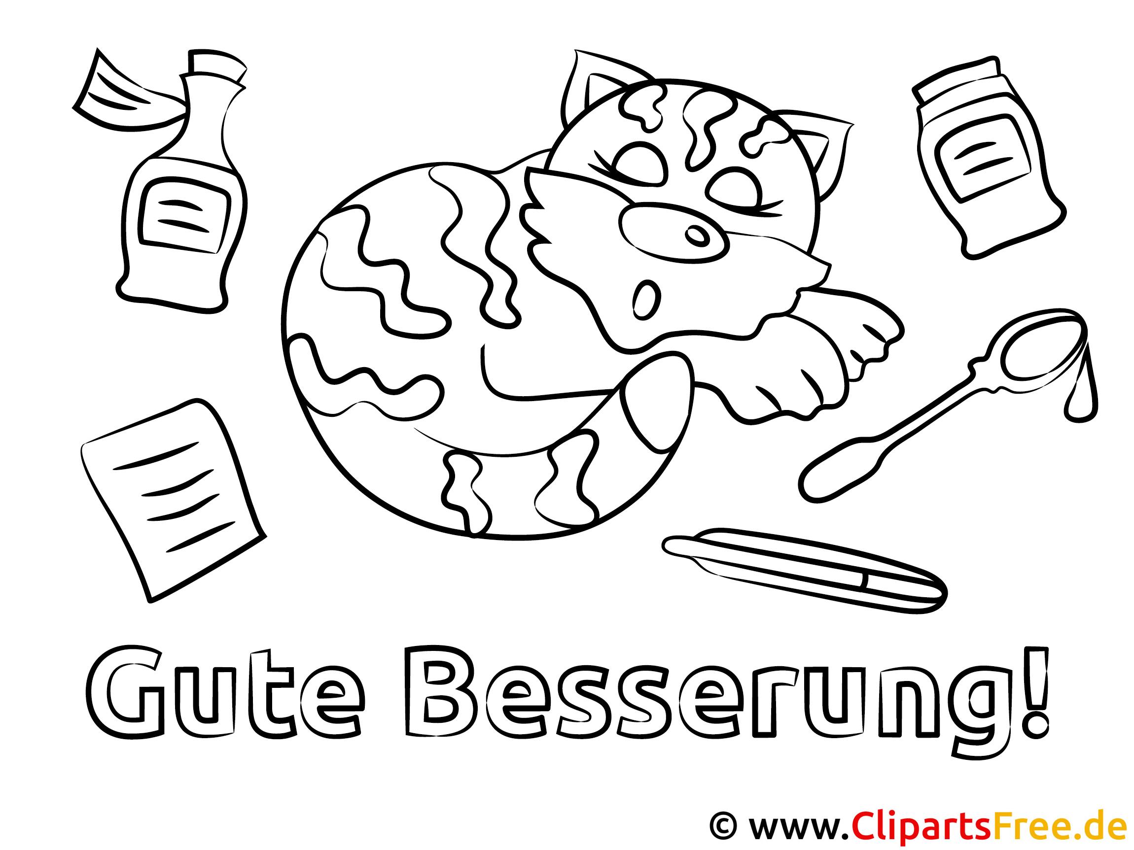 Kranke Katze Gute Besserung Ausmalbilder gratis für Kinder