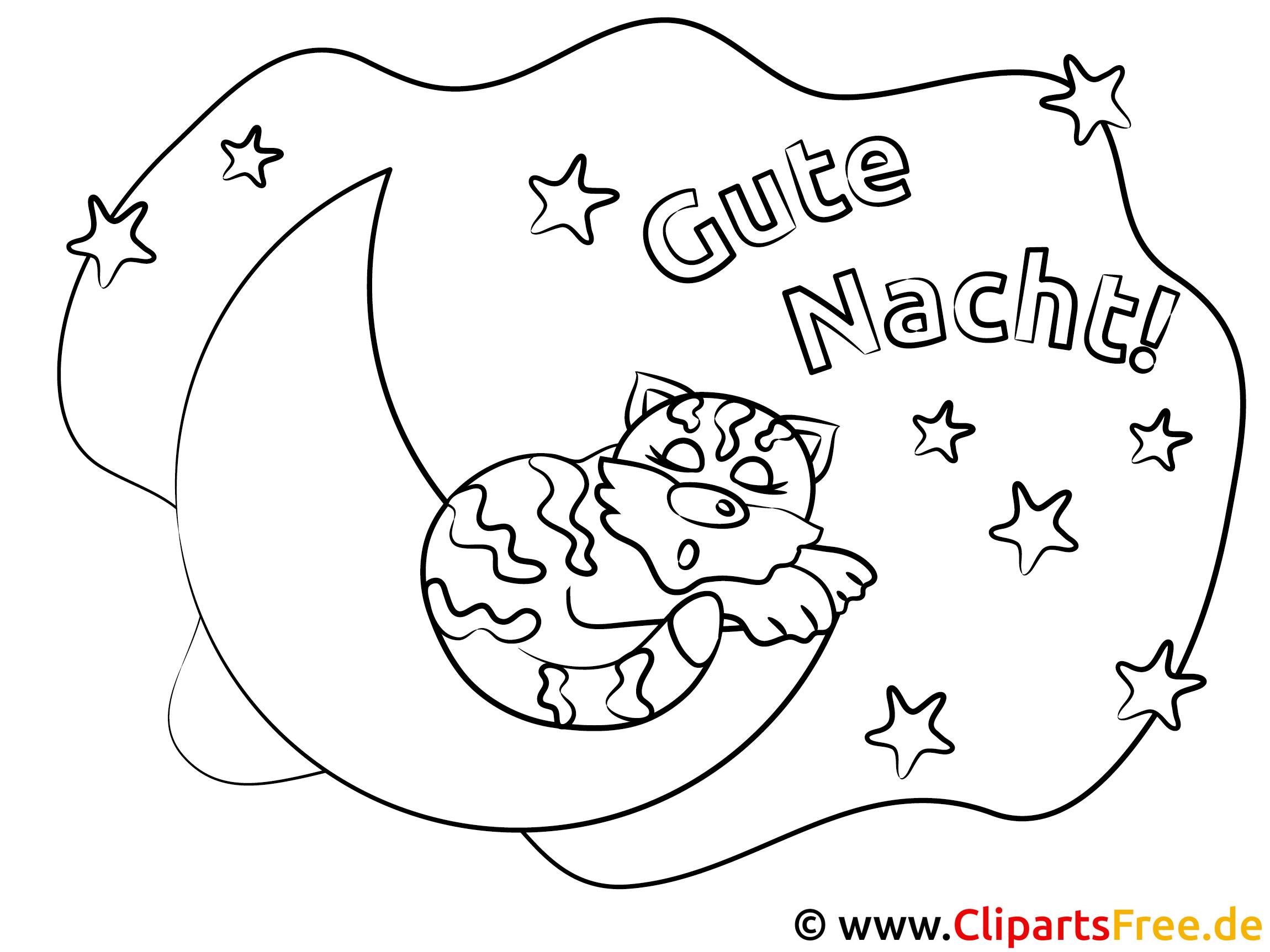 schlafende katze auf dem mond gute nacht ausmalbilder