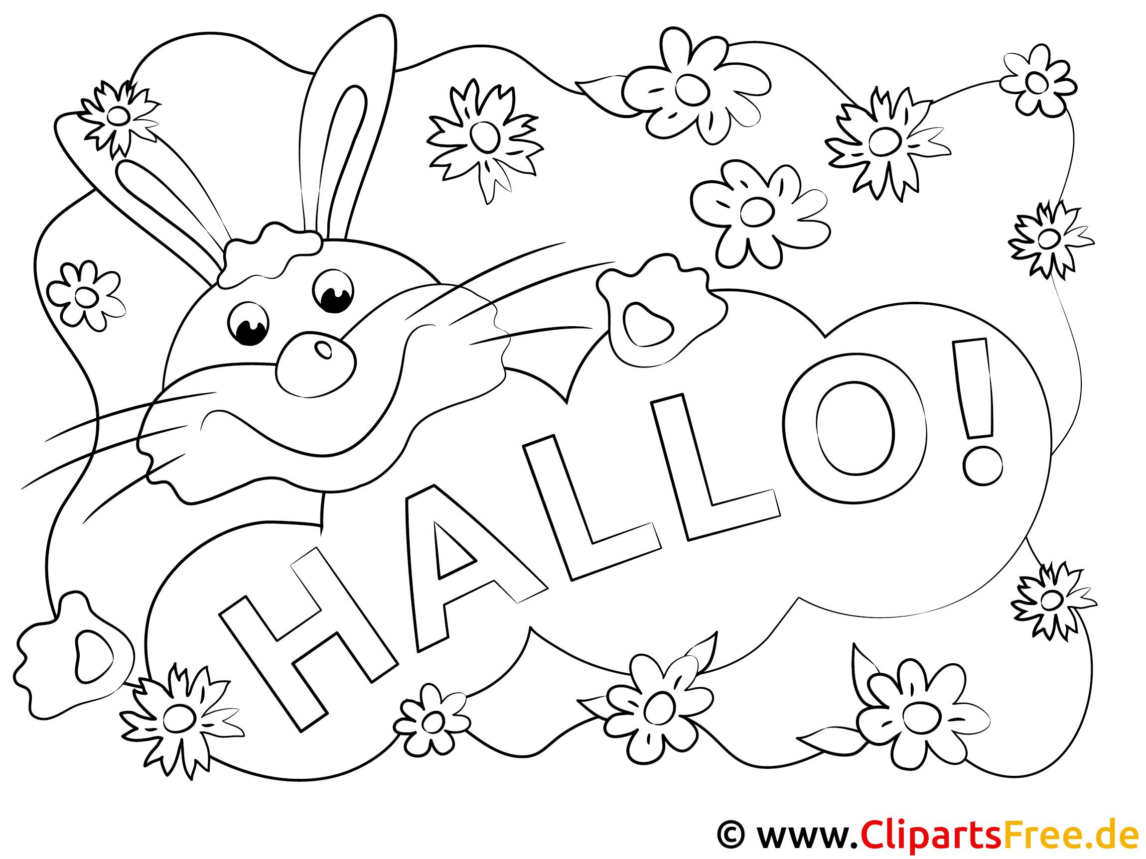 Hase Hallo Ausmalbilder gratis für Kinder