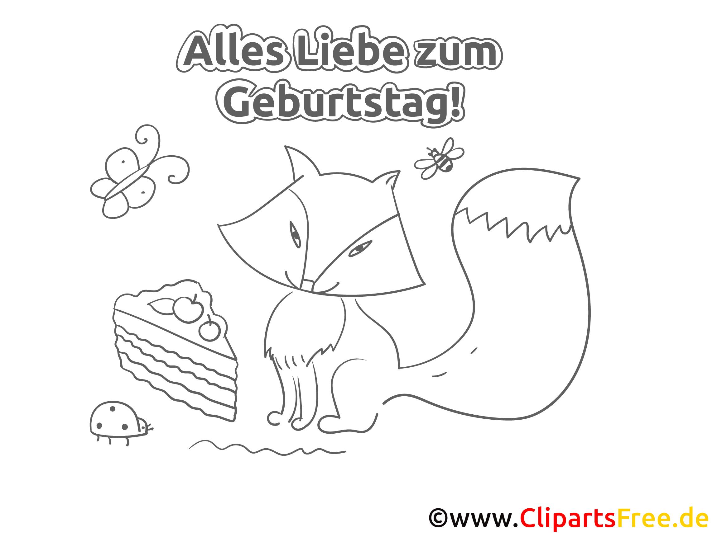 Fuchs Kuchen Geburtstag Ausmalbild Grusskarte