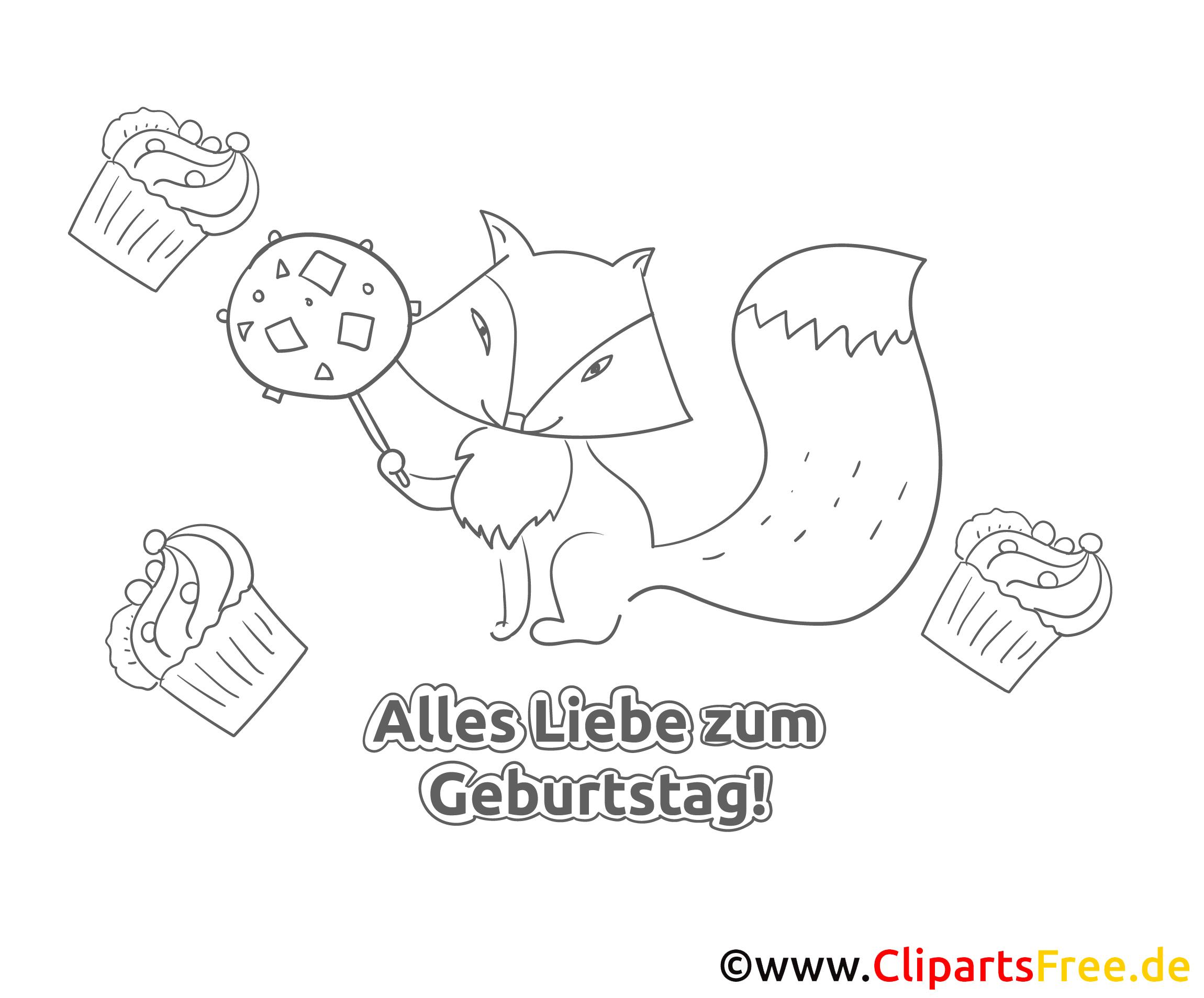 Ausmalbilder Kinder Fuchs: Fuchs Süßigkeit Geburtstag Ausmalbild-Grusskarte