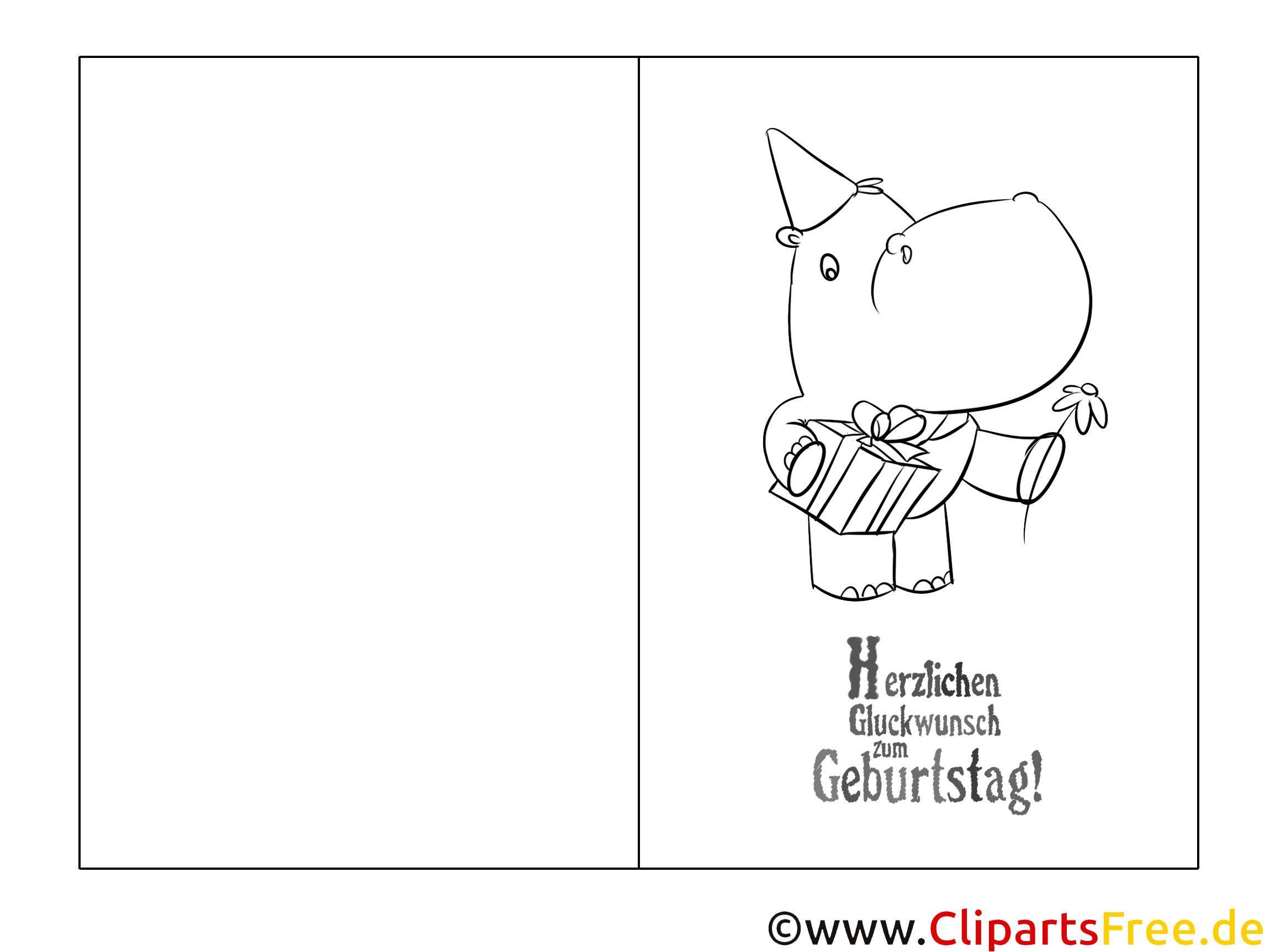Nilpferd Vorlage Grusskarte zum