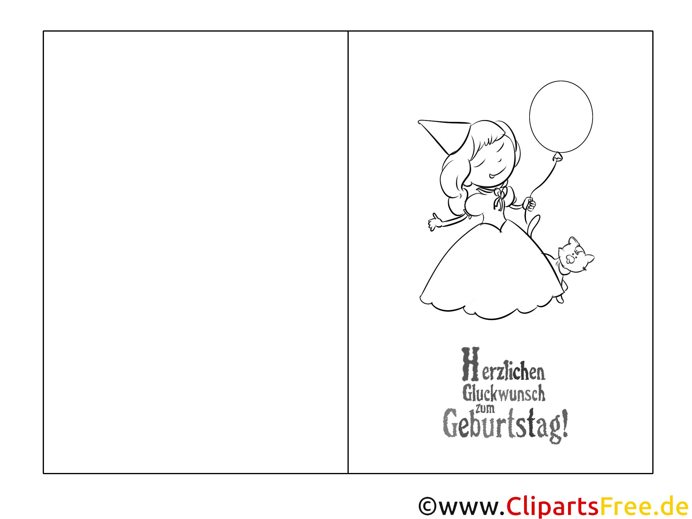 Prinzessin Ausmalbild Glückwunschkarte Zum Ausmalen