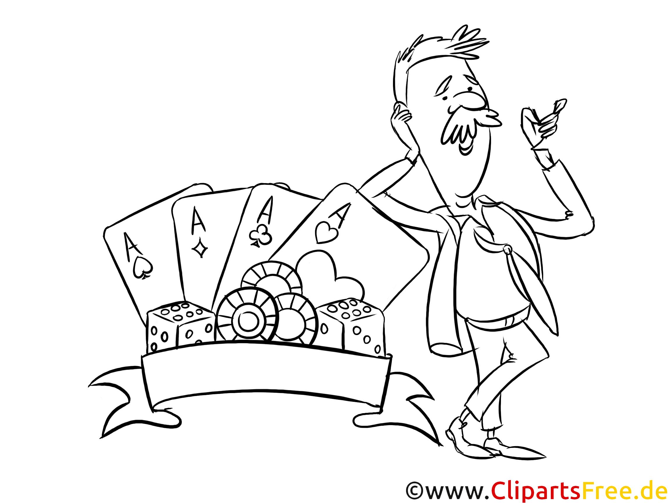 Zauberer mit Spielkarten Bild, Illustration schwarz-weiß zum Ausmalen