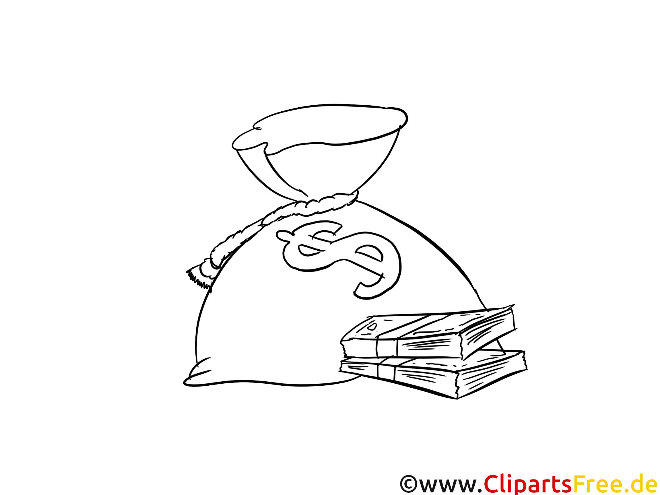 Geld-Sack Bild Malvorlage zum Drucken