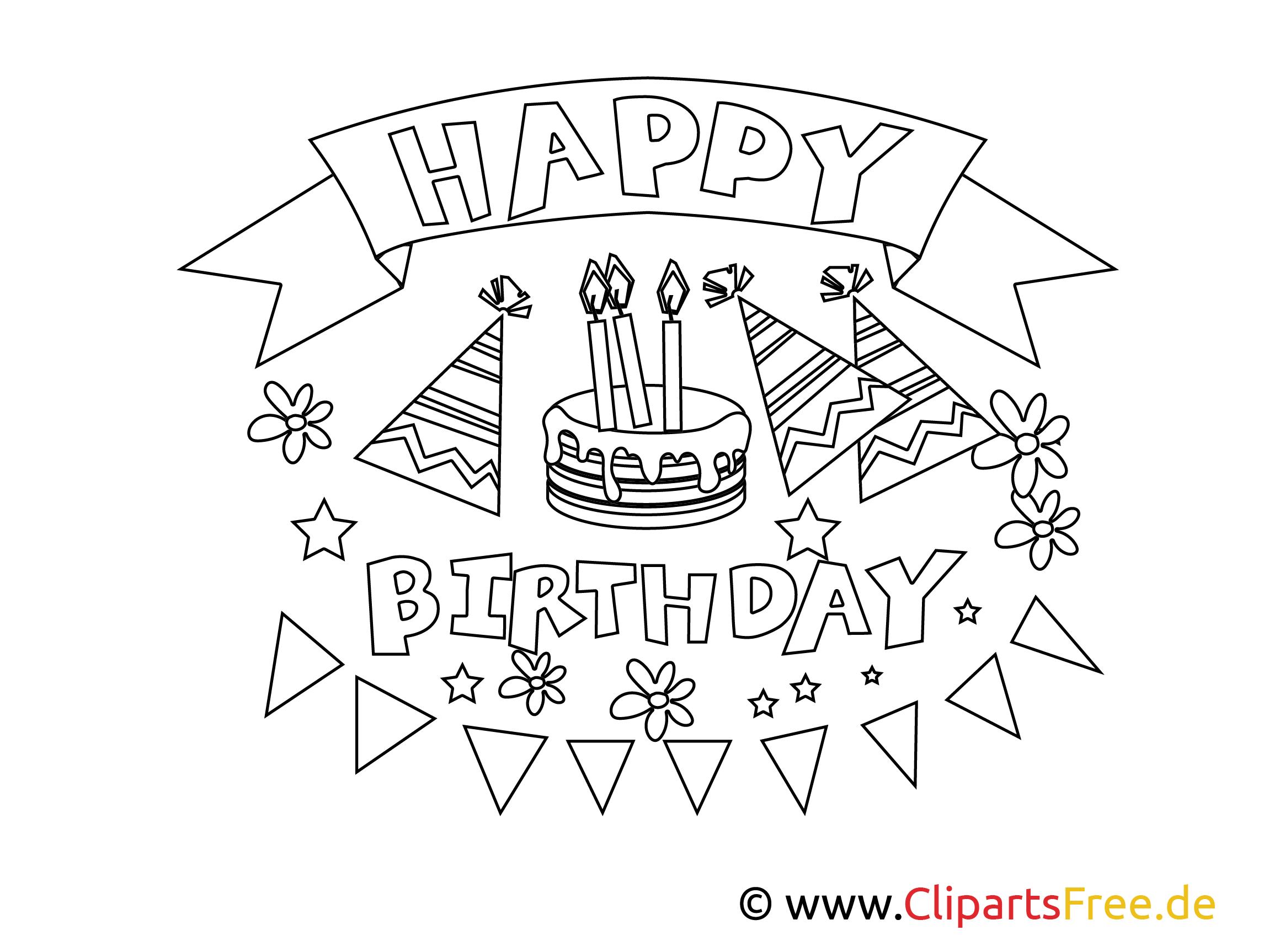 happy birthday ausmalbilder geburtstagstorte  malvorlagen