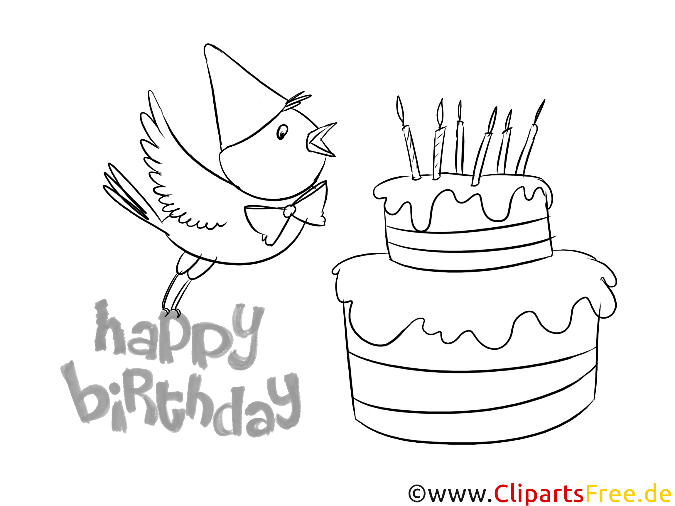 ücretsiz Doğum Günü Pastaları Boyama Için Resimler