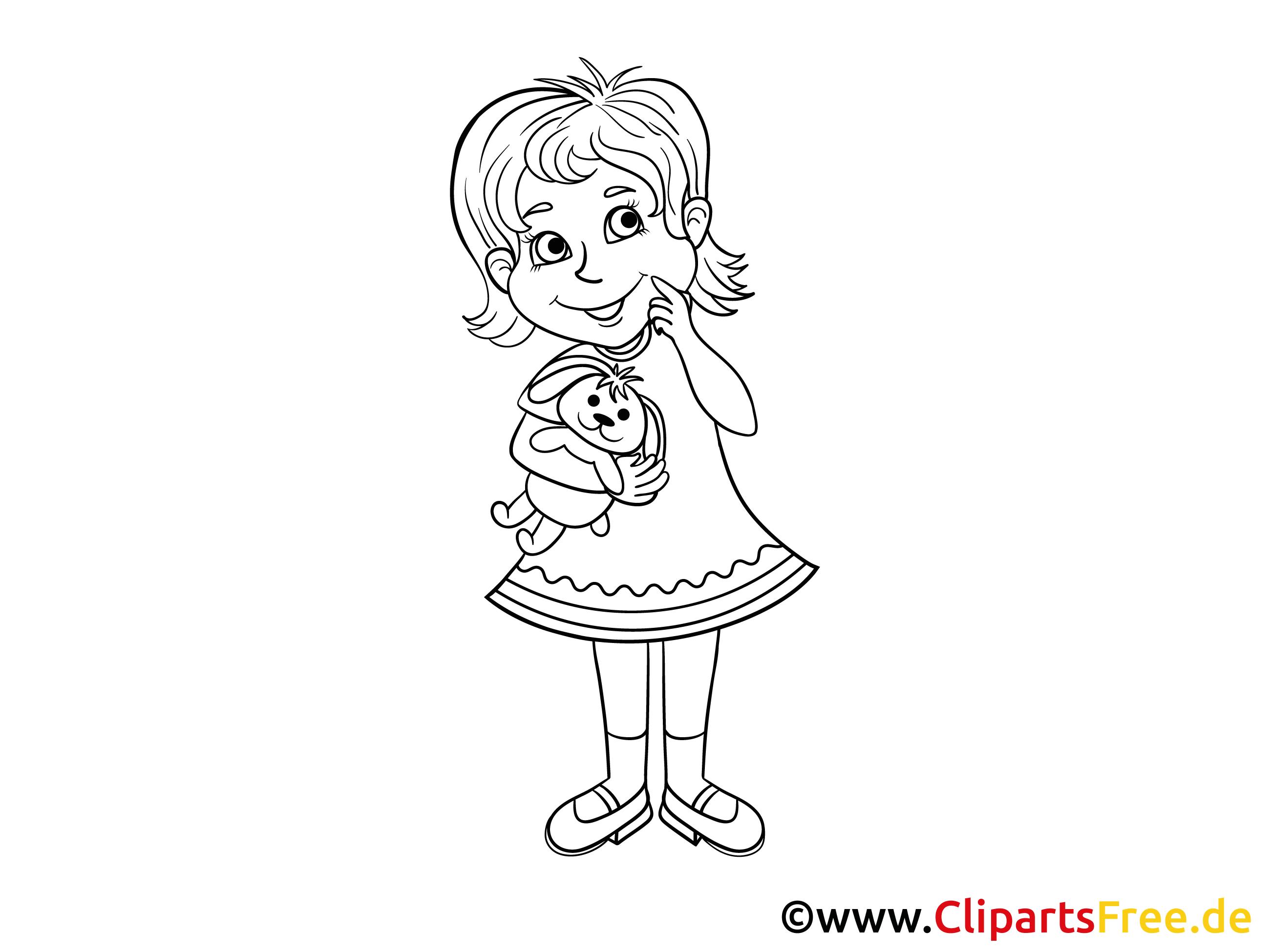 mädchen im kindergarten bild clipart illustration