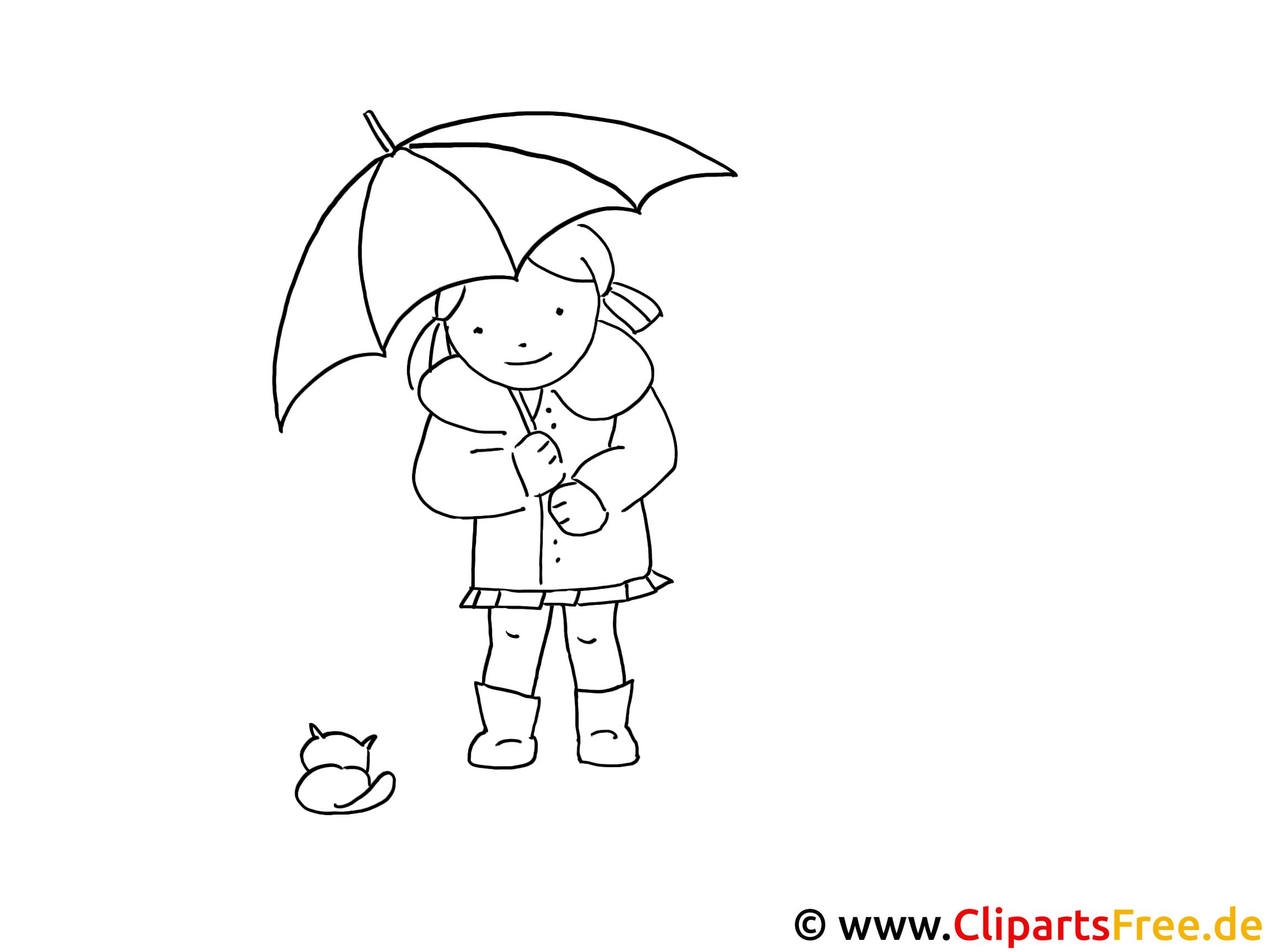 ausmalbilder für kinder  mädchen unter dem regenschirm