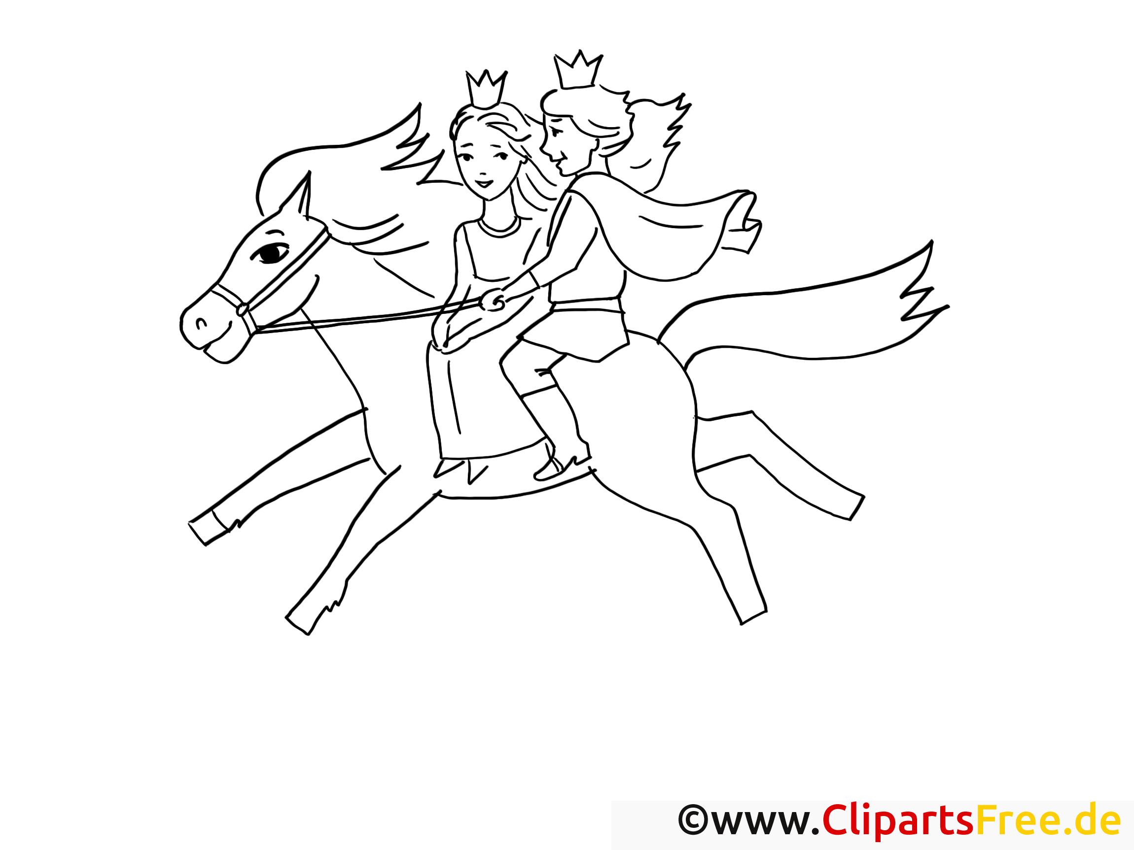 prinz und prinzessin reiten auf pferd ausmalbilder märchen