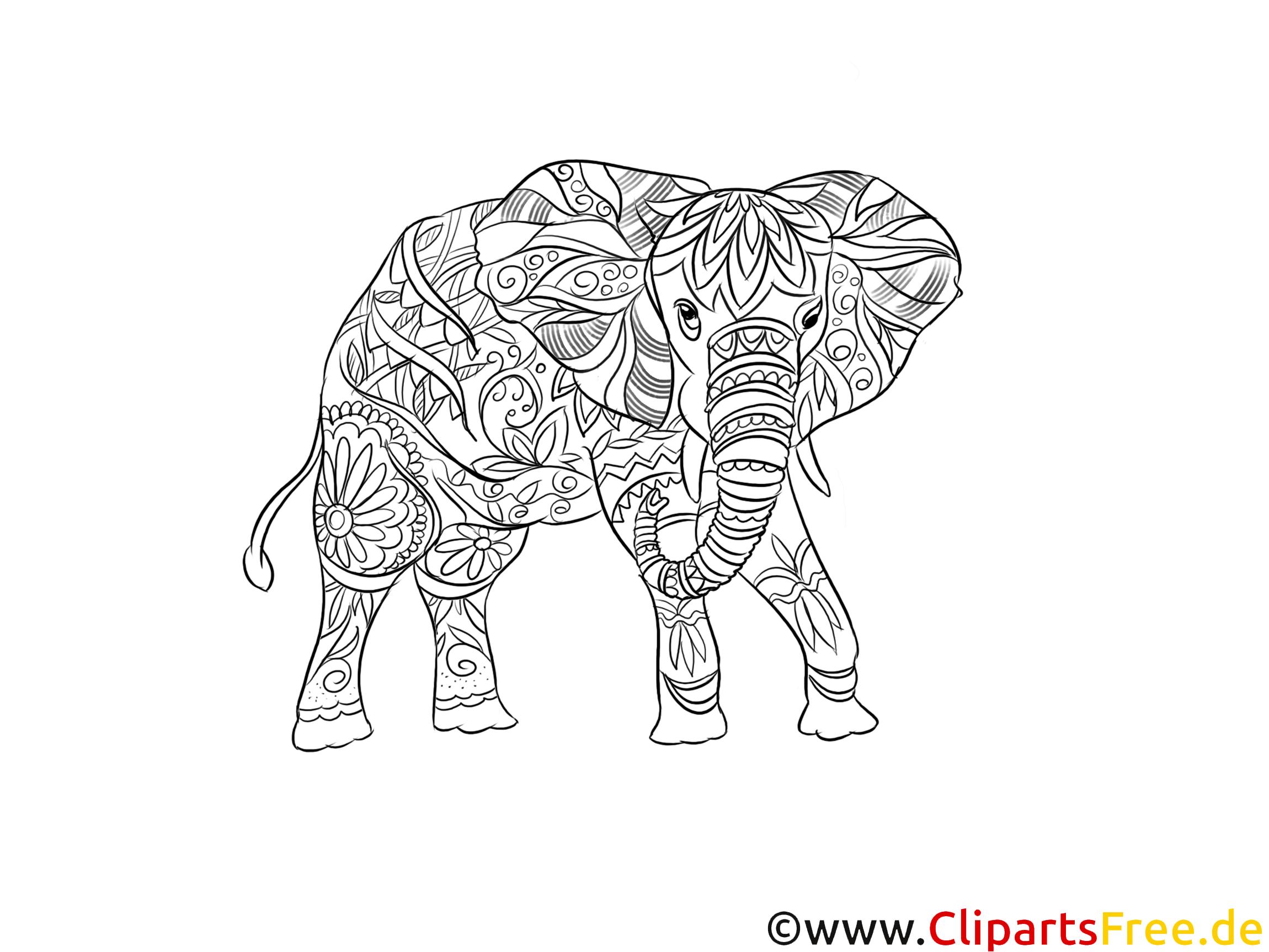 Kostenlose Druckvorlage Elefant Für Erwachsene