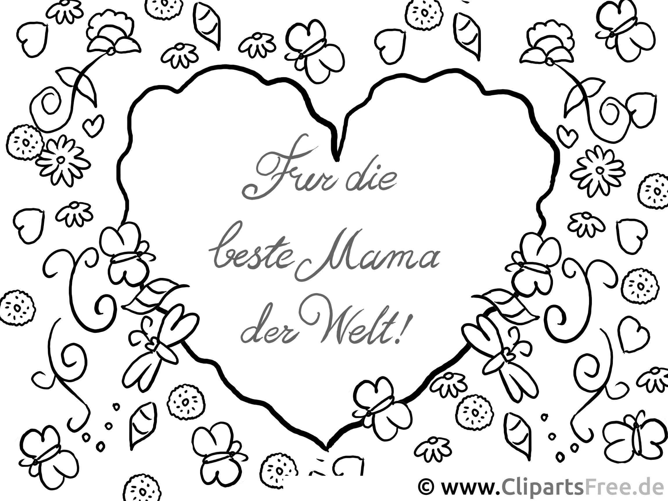 Herz für Mama Ausmalvorlage, Malvorlage, Malbild gratis