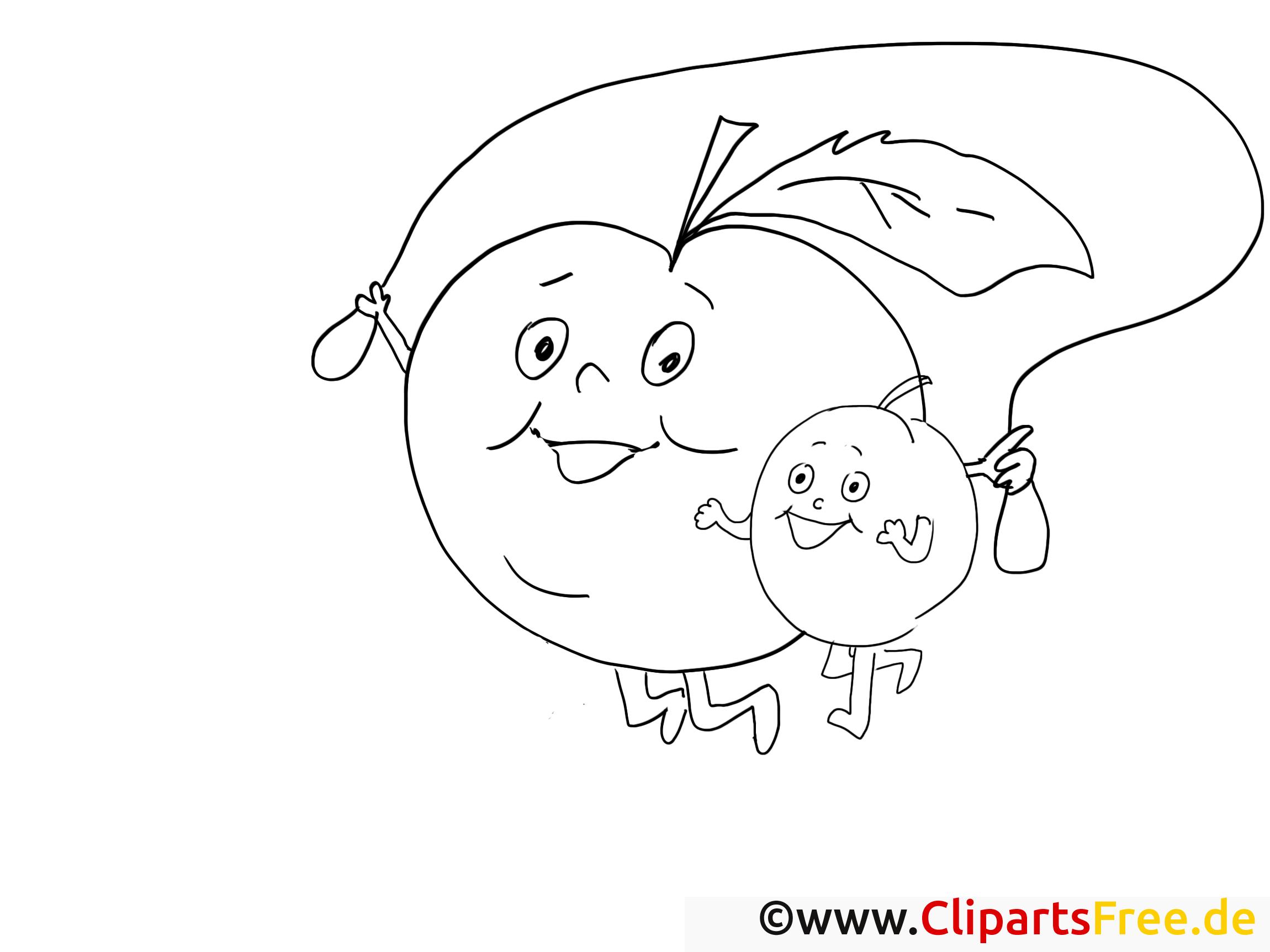 großer apfel mit kind malvorlage