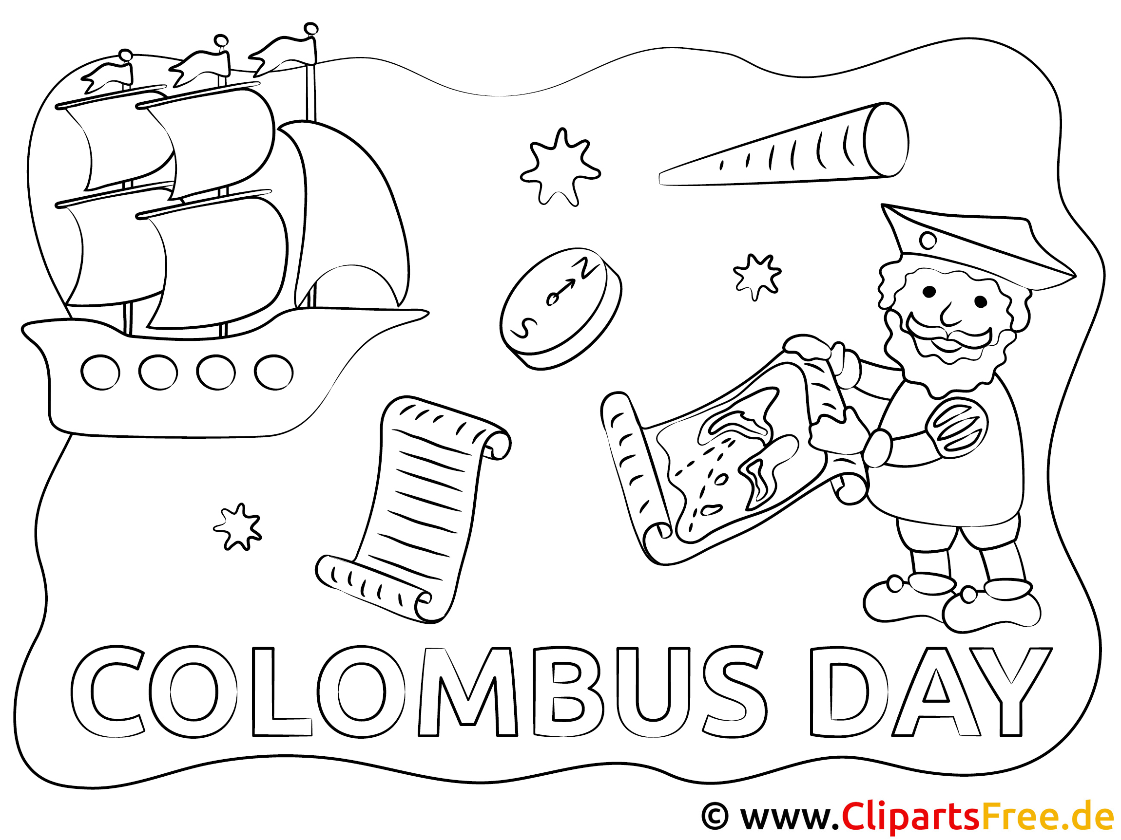 Kolumbus Amerika Ausmalbild
