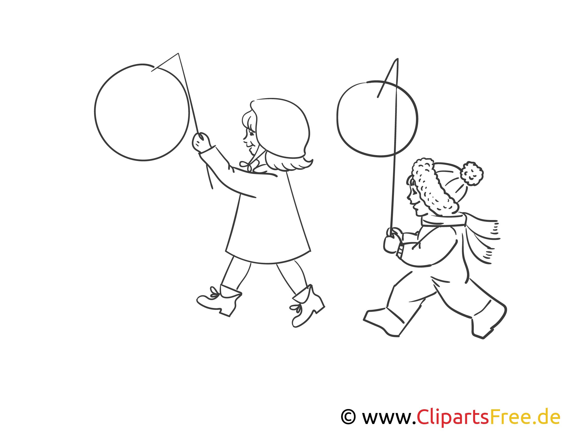 Kinder Mit Laternen Bild Schwarz Weiß Illustration Grafik