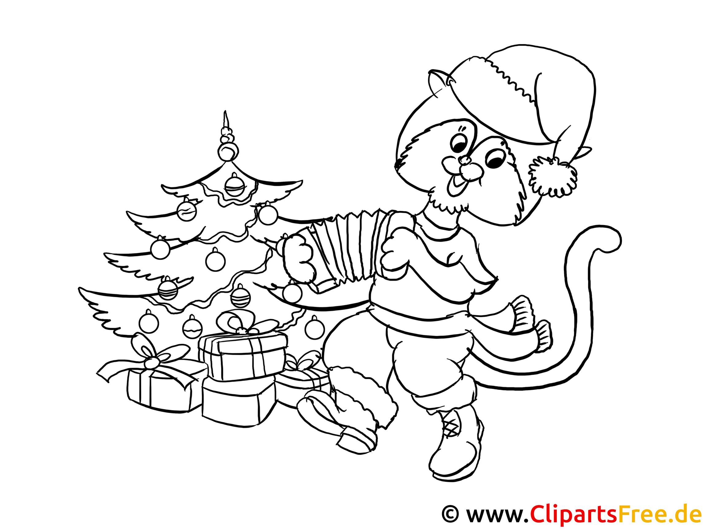 ausmalbild zum ausdrucken katze am weihnachtsbaum. Black Bedroom Furniture Sets. Home Design Ideas