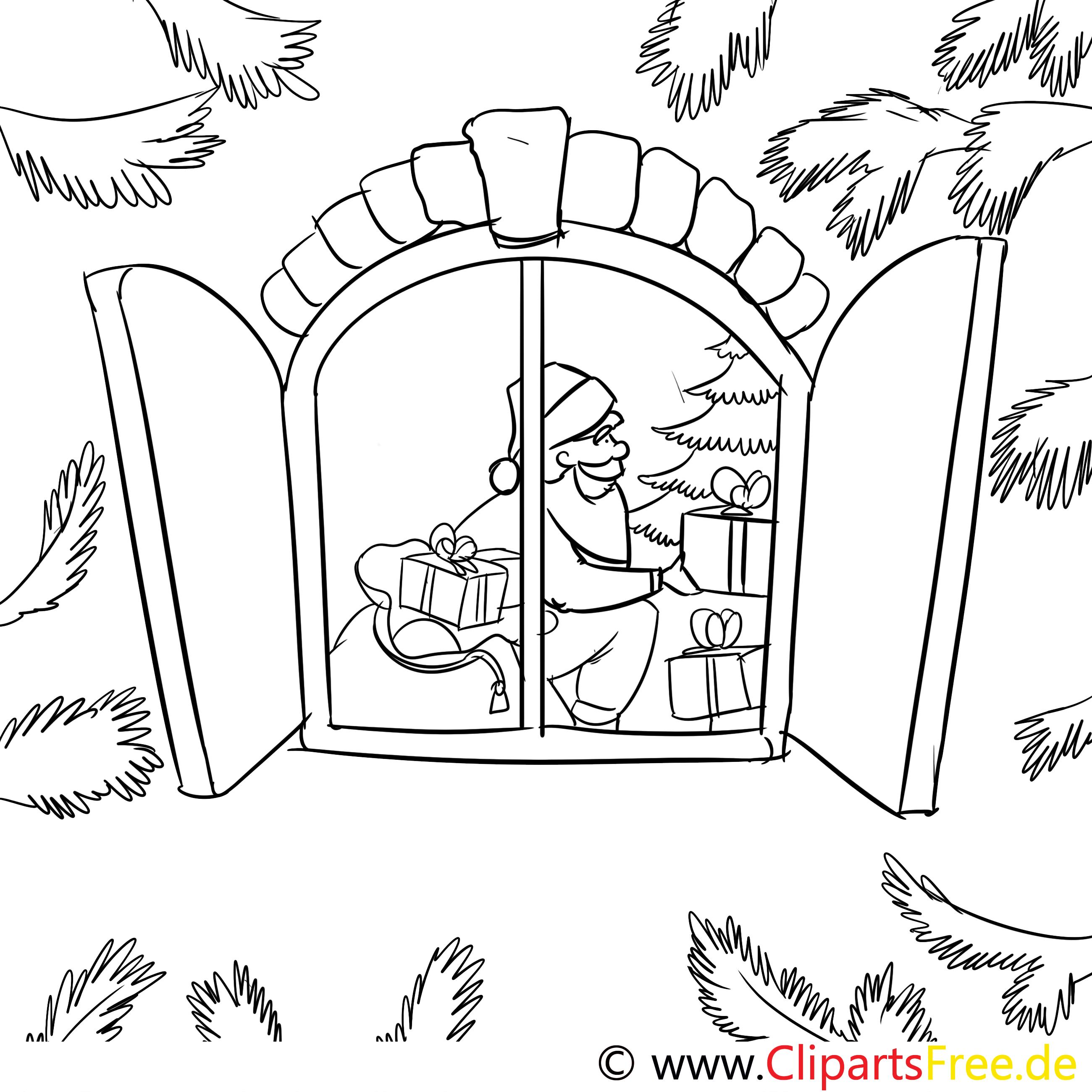 fenster weihnachtsmann ausmalbild malvorlage zum drucken