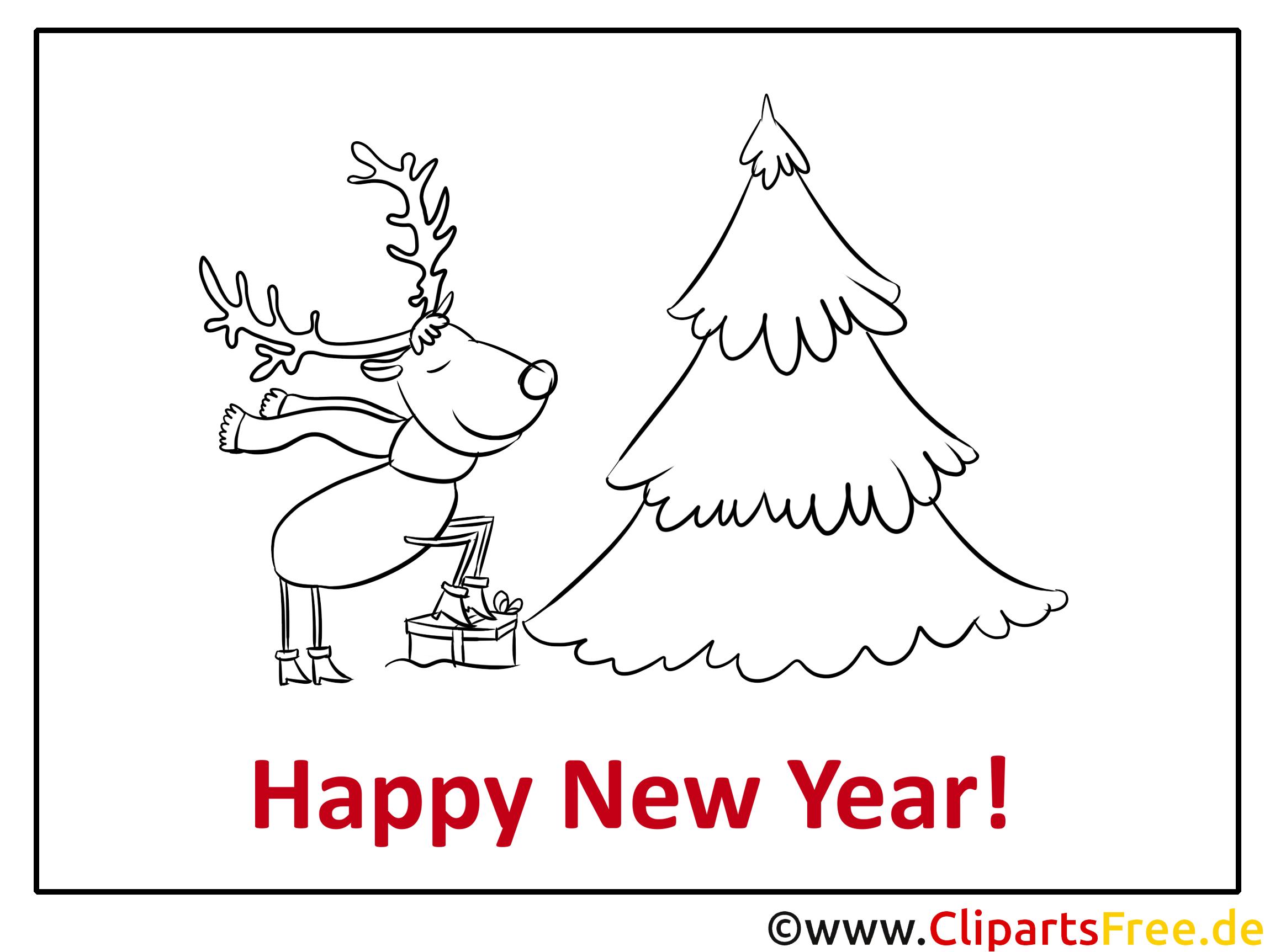 hirsch tannenbaum happy new year coloring malvorlage