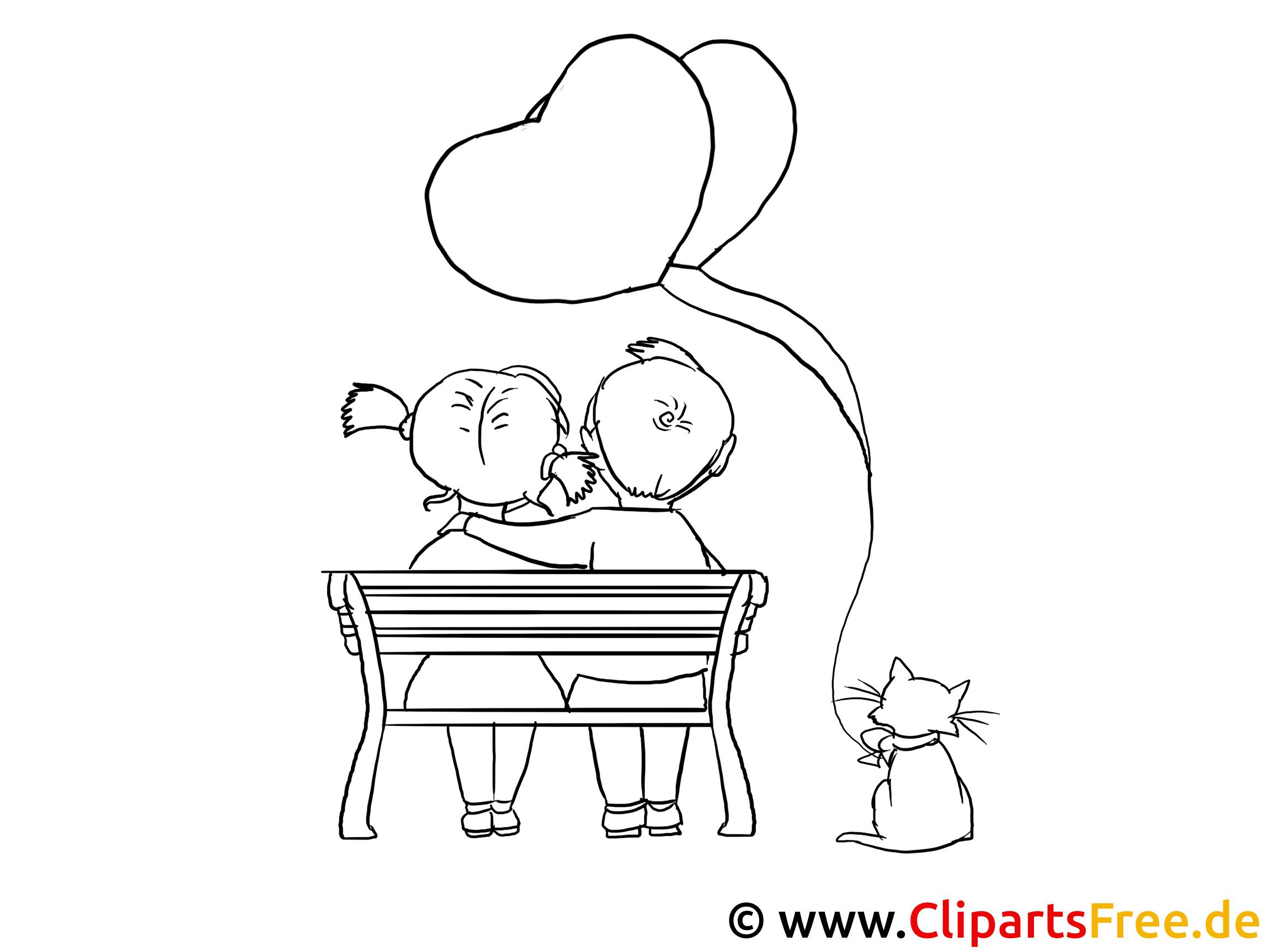 auf der bank valentinstag ausmalbilder für kinder