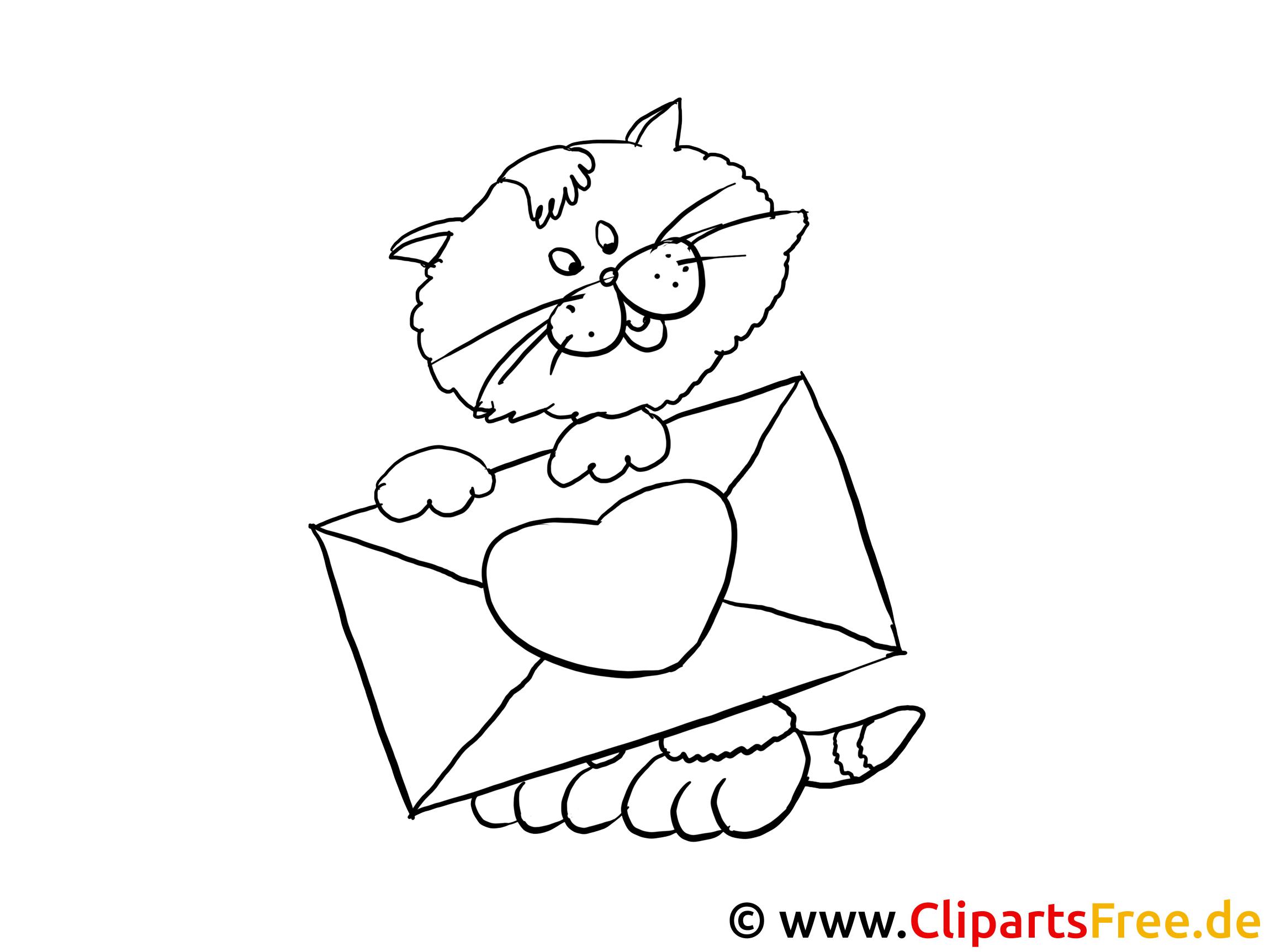 katze mit liebesbrief gratis bilder zum ausmalen