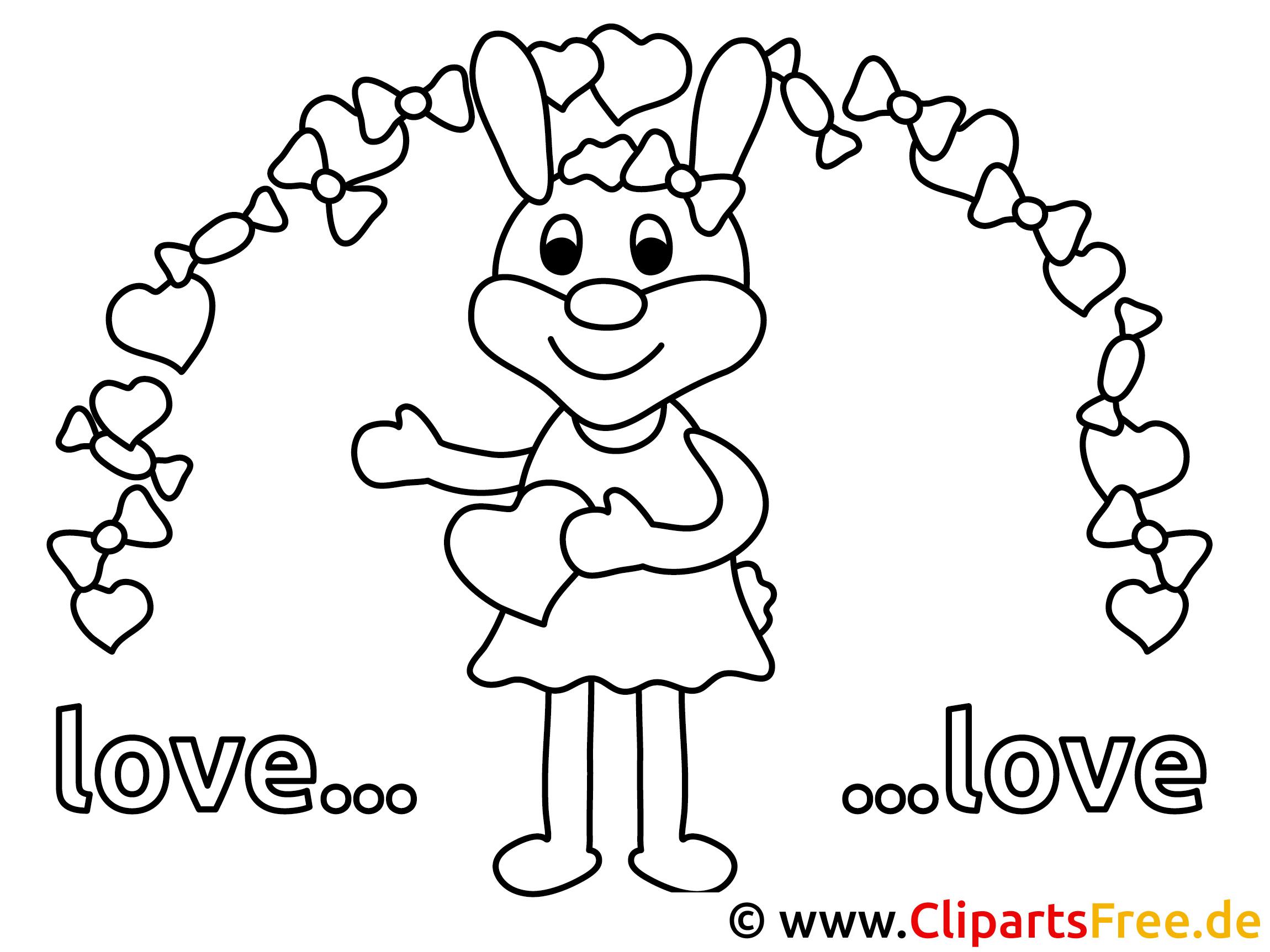 Verliebter Hase Ausmalbilder kostenlos ausdrucken