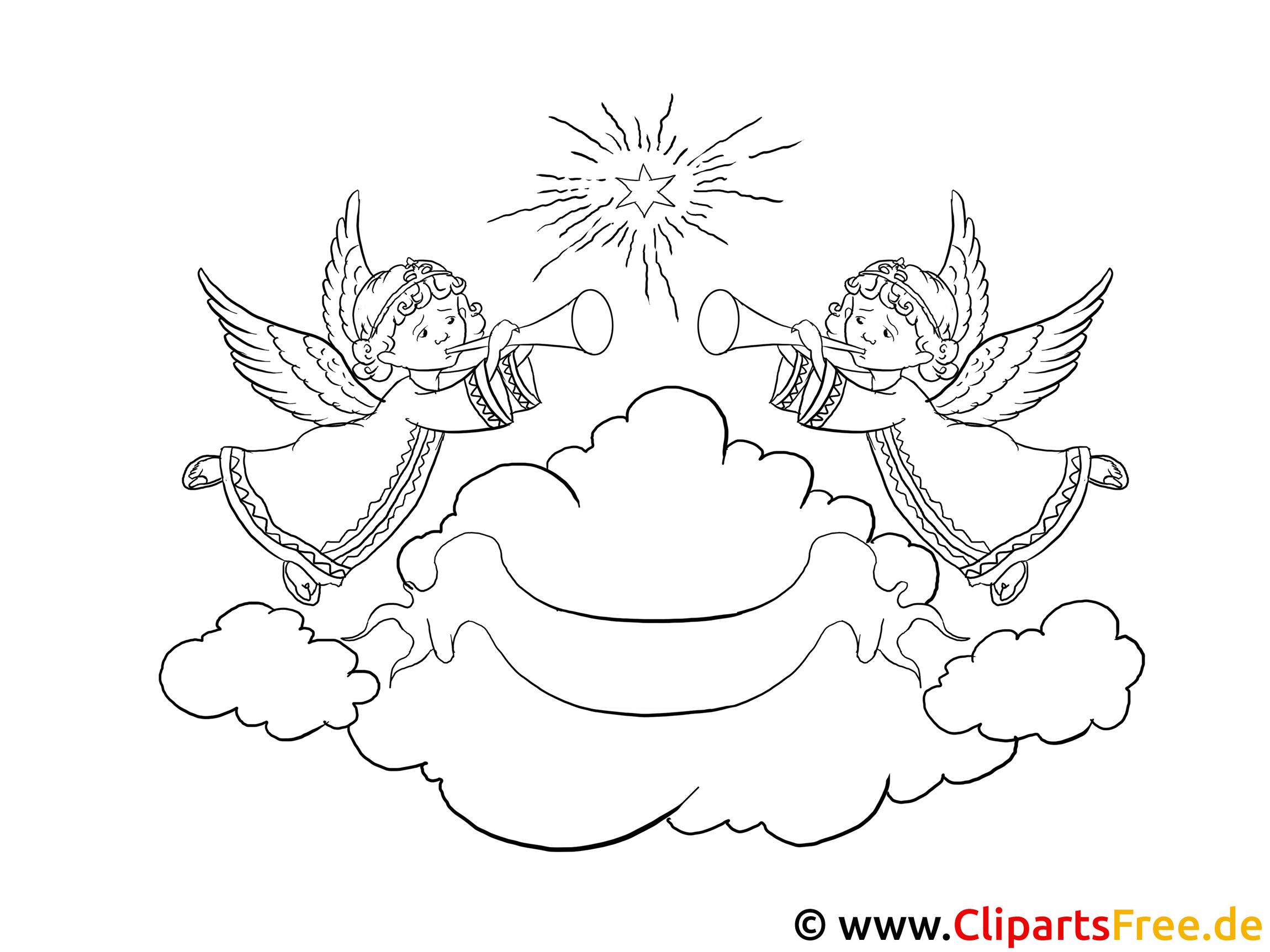 advent ausmalbild  engel im himmel