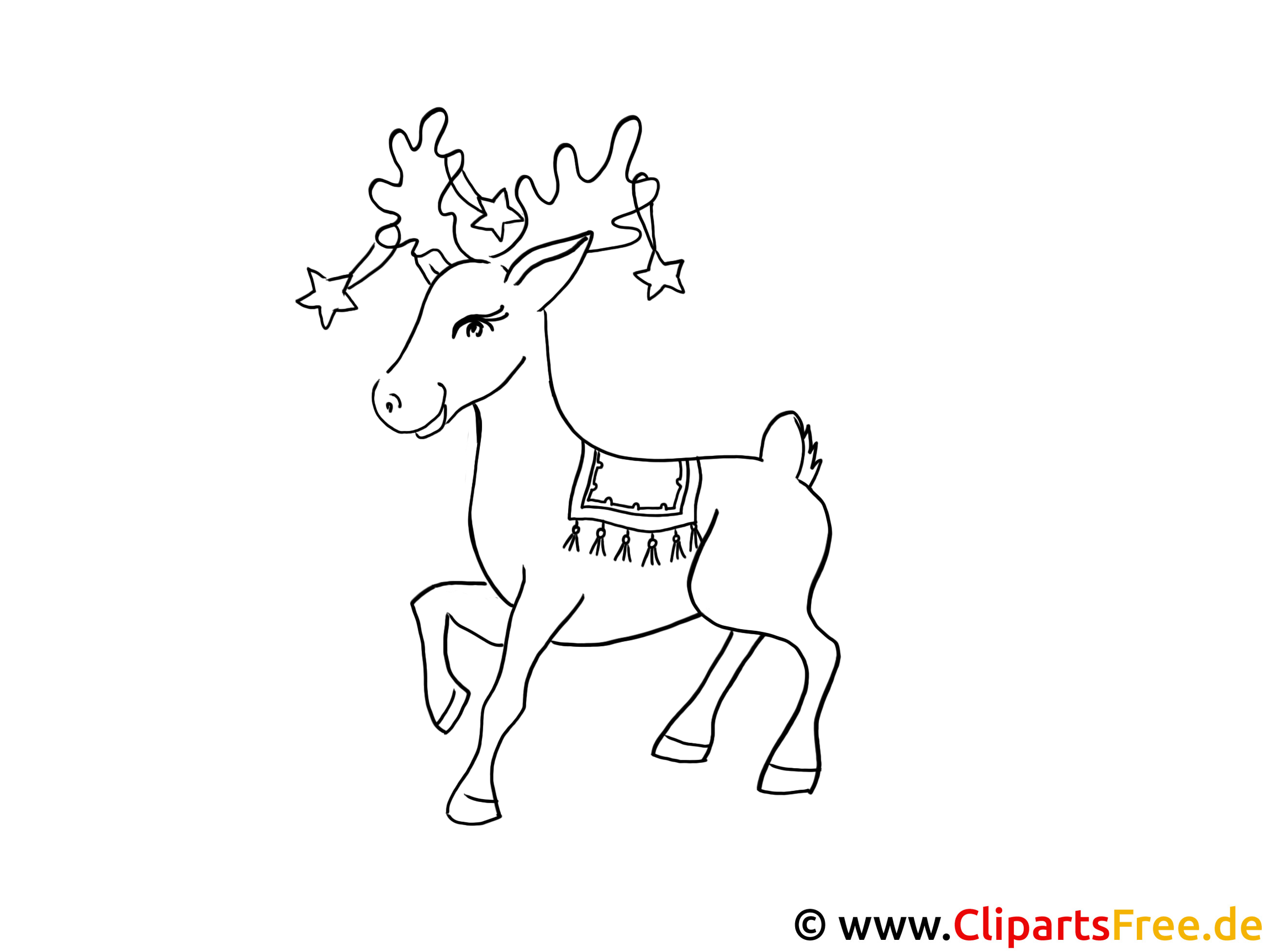 malen für kindern  reh zu weihnachten