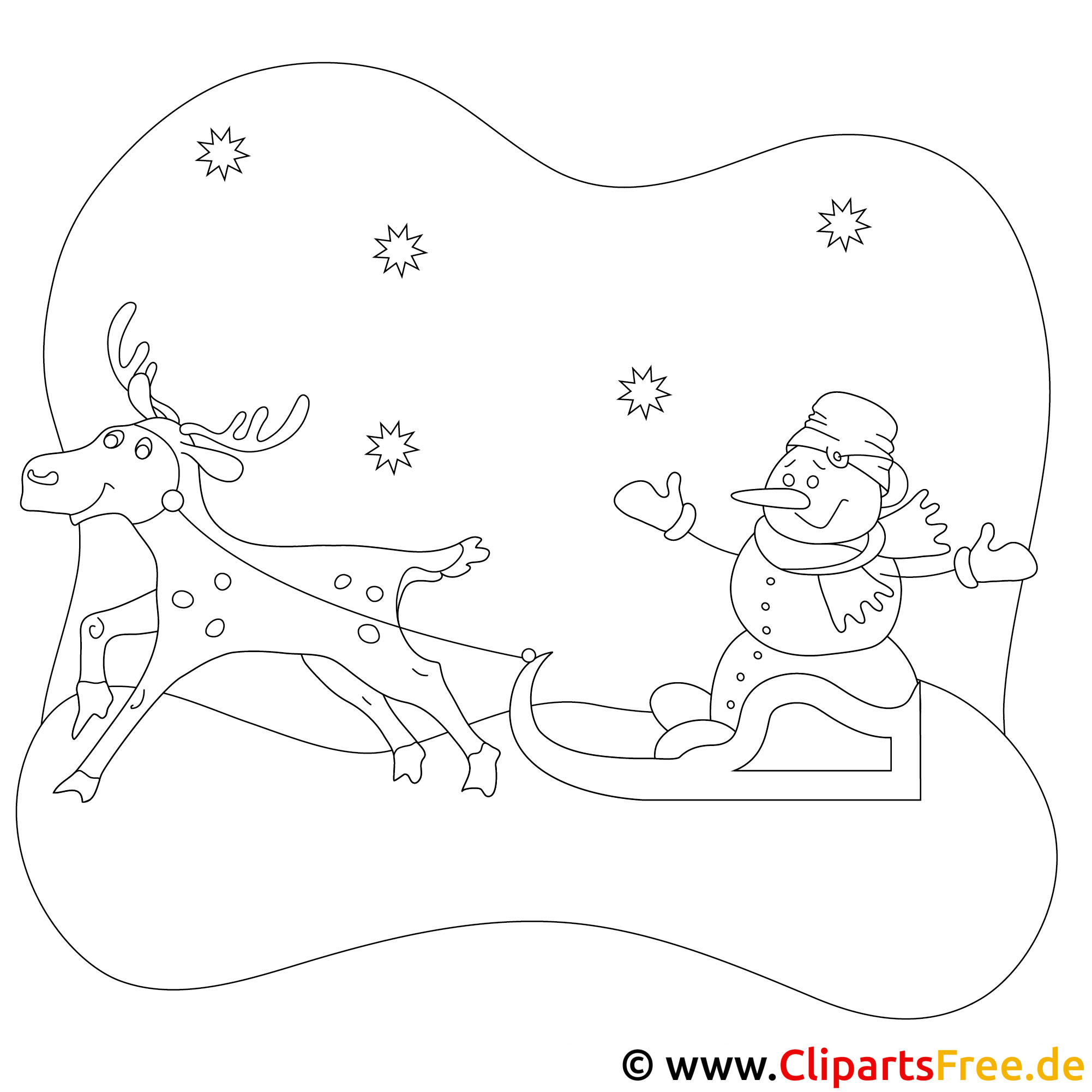 rentier malvorlage zu weihnachten. Black Bedroom Furniture Sets. Home Design Ideas