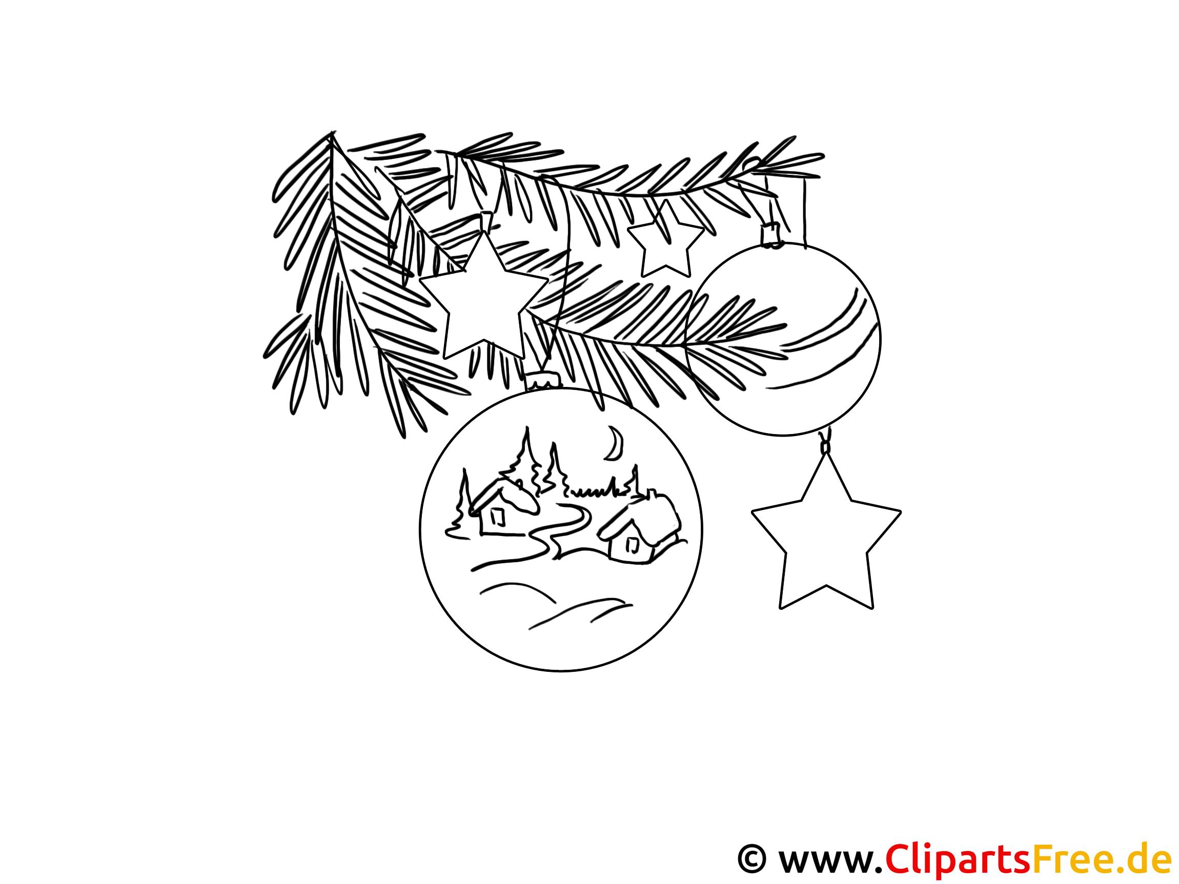 Weihnachten Ausmalbild Schmuck Auf Tannenbaum