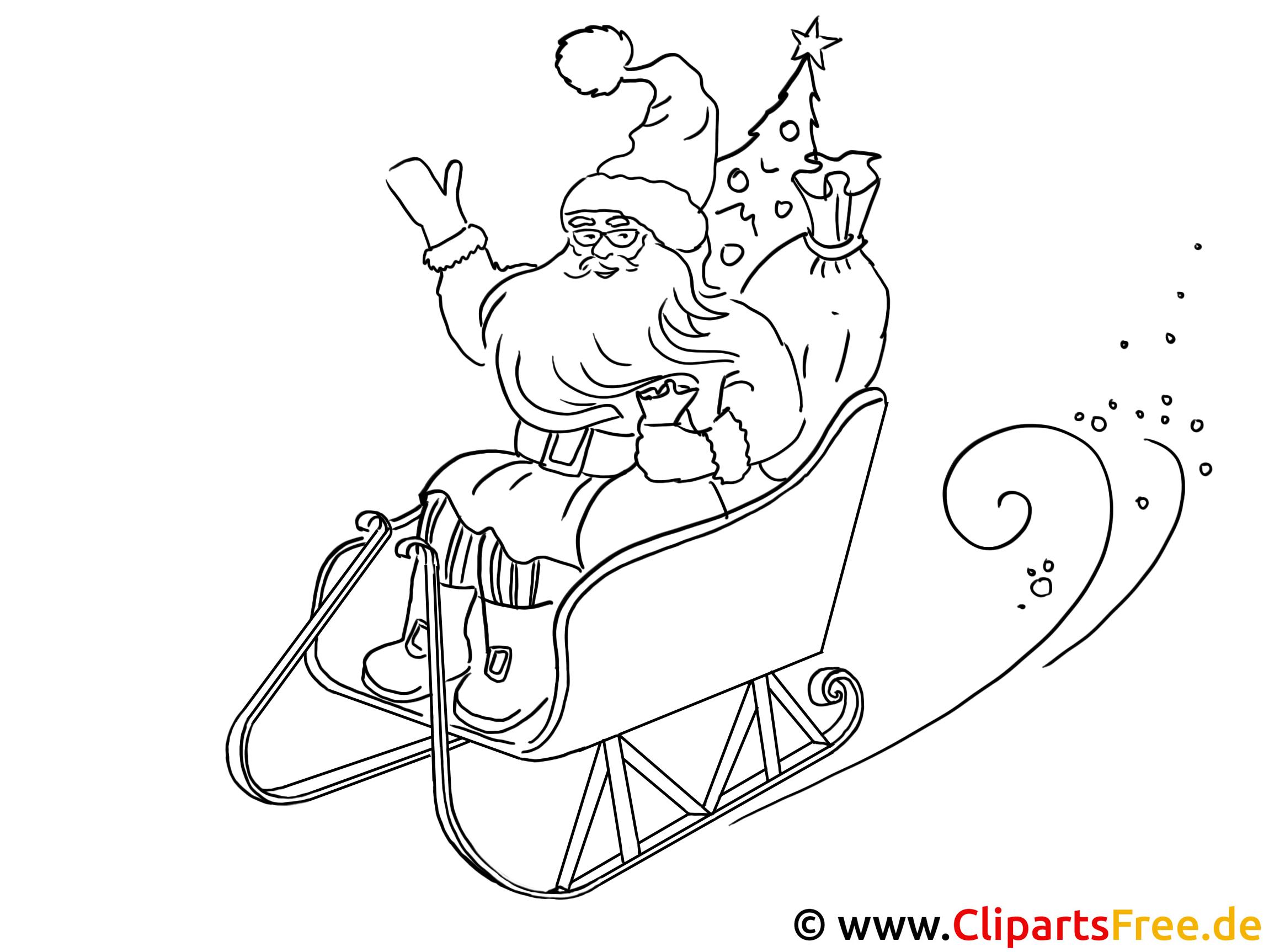 Weihnachts Ausmalbilder Nikolaus Auf Schlitten