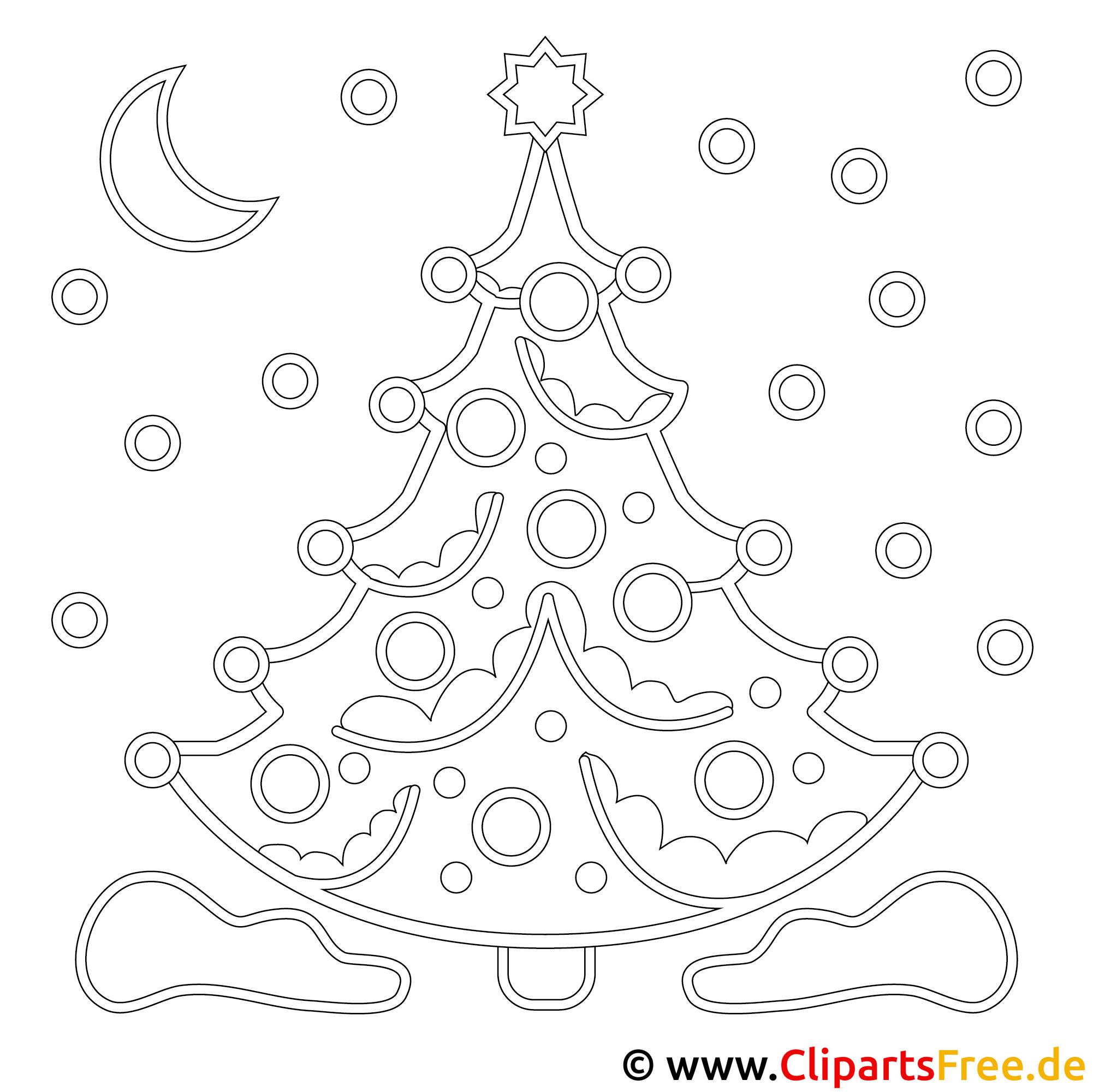 Weihnachtsbaum Bild, Malvorlage, Ausmalbild kostenlos