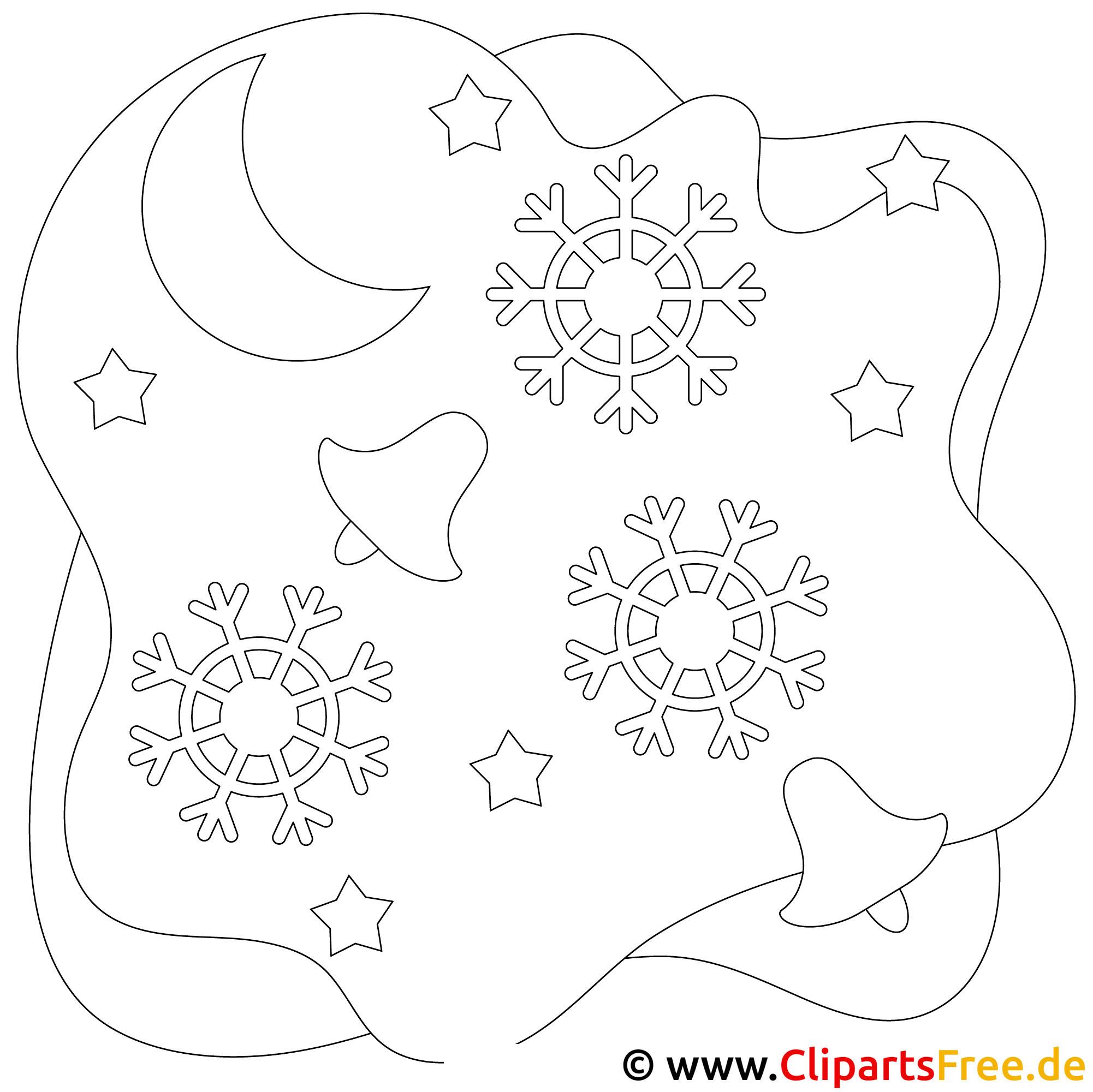 Weihnachtsglocken und Schneeflocken Bild, Malvorlage, Ausmalbild