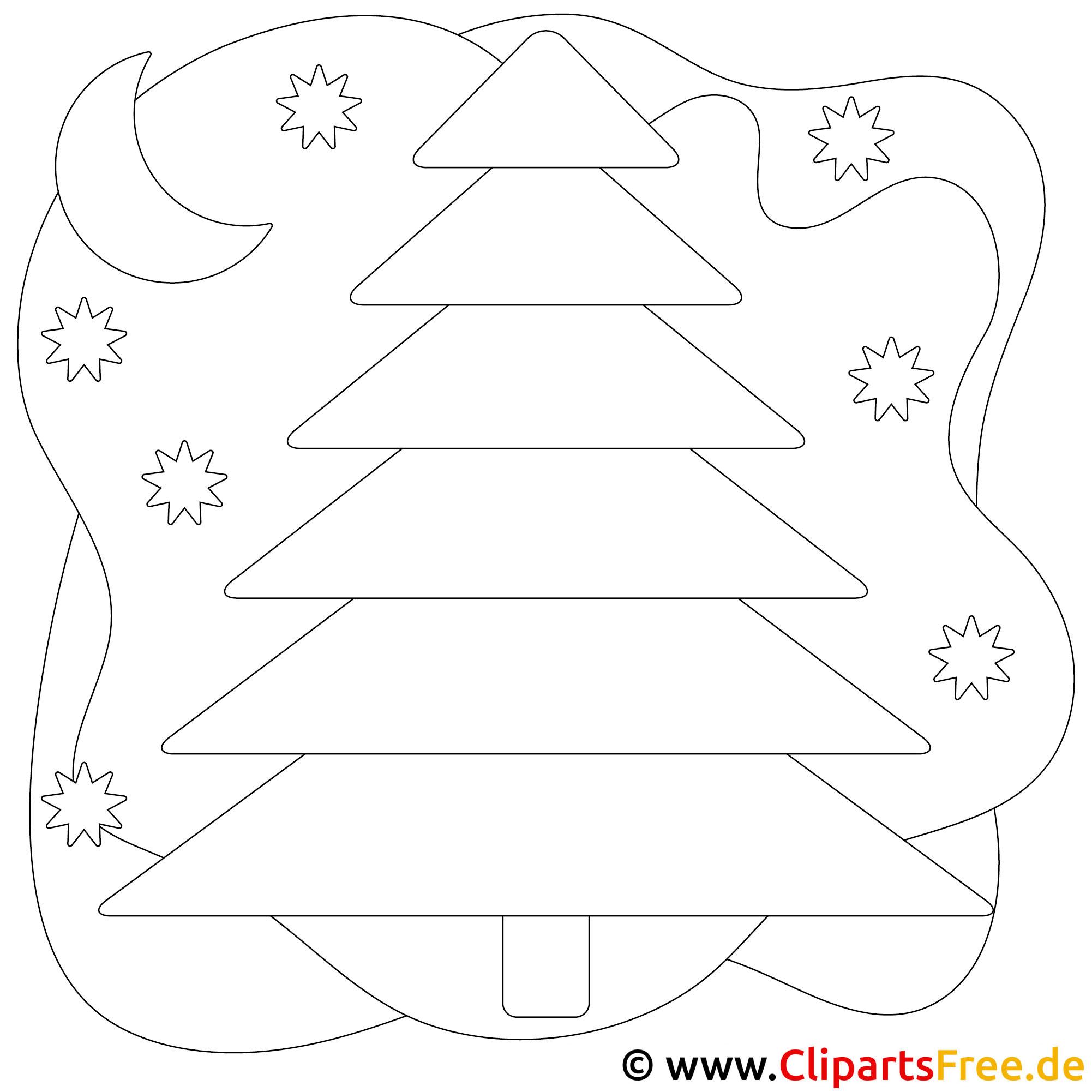 Window Color Vorlage zu Weihnachten Tannenbaum im Wald