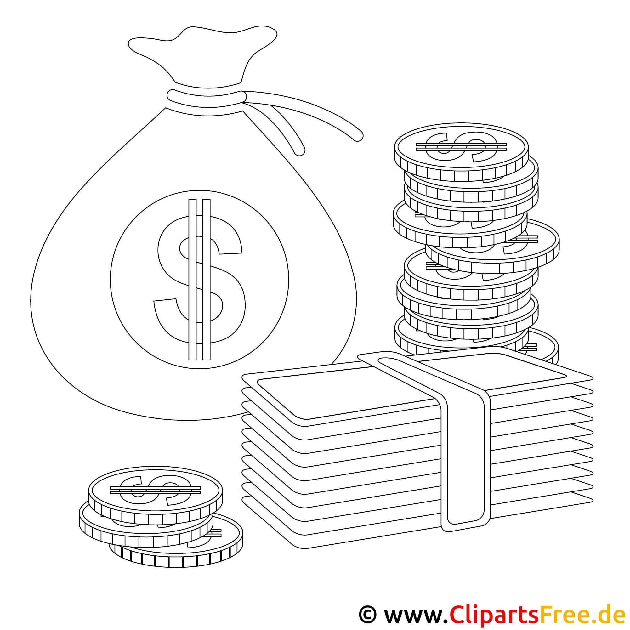 Bild zum Ausmalen Geld