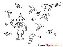 Roboter und Aliens Malvorlage