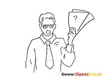 Fragenbogen Bild zum Drucken und Ausmalen - Arbeit im Büro