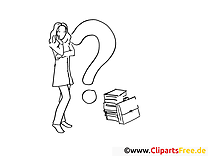 Fragezeichen Clipart-Ausmalbild kostenlos
