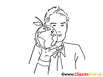 Globus-Apple Coloring Page Office Work