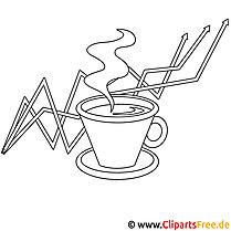 Kaffeepause Bild zum Ausmalen, Malvorlage, Ausmalbild