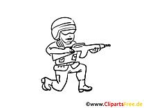 Ausmalbild Soldat Militär  gratis