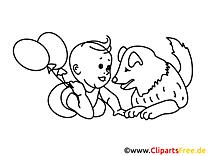 Baby und Haustier Hund